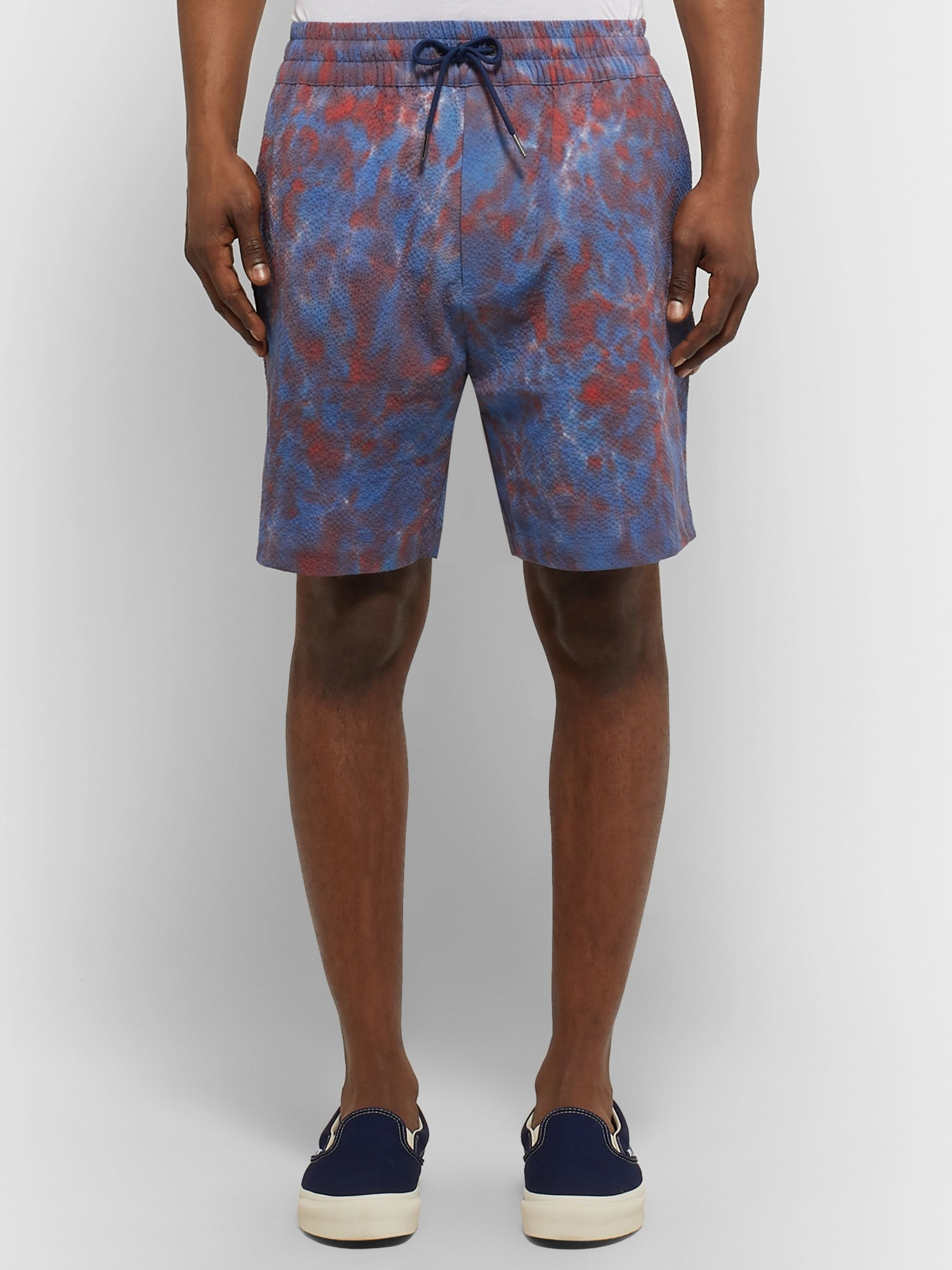 Aimé Leon Dore Tie-Dyed Cotton-Blend Seersucker Drawstring Shorts