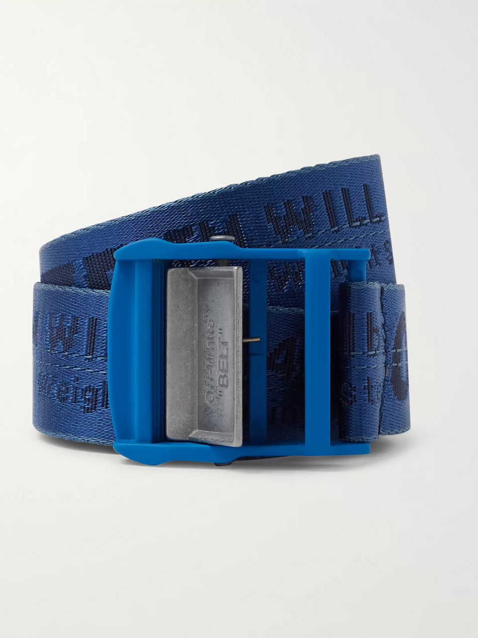 Off-White 3cm Blue Industrial Logo-Jacquard Webbing Belt