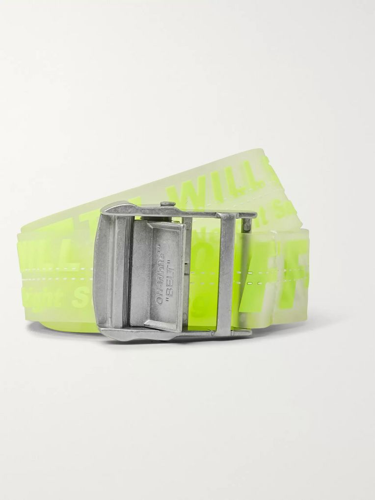 Off-White 3cm Neon-Yellow Industrial Logo-Print Rubber Belt
