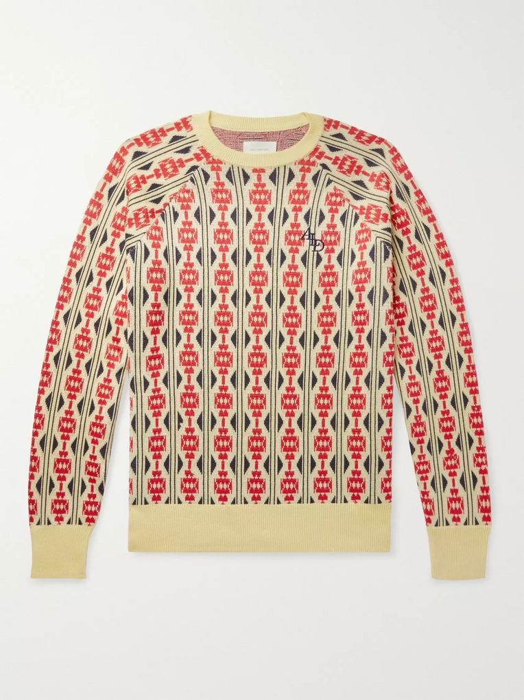 Aimé Leon Dore Logo-Embroidered Cotton-Jacquard Sweater