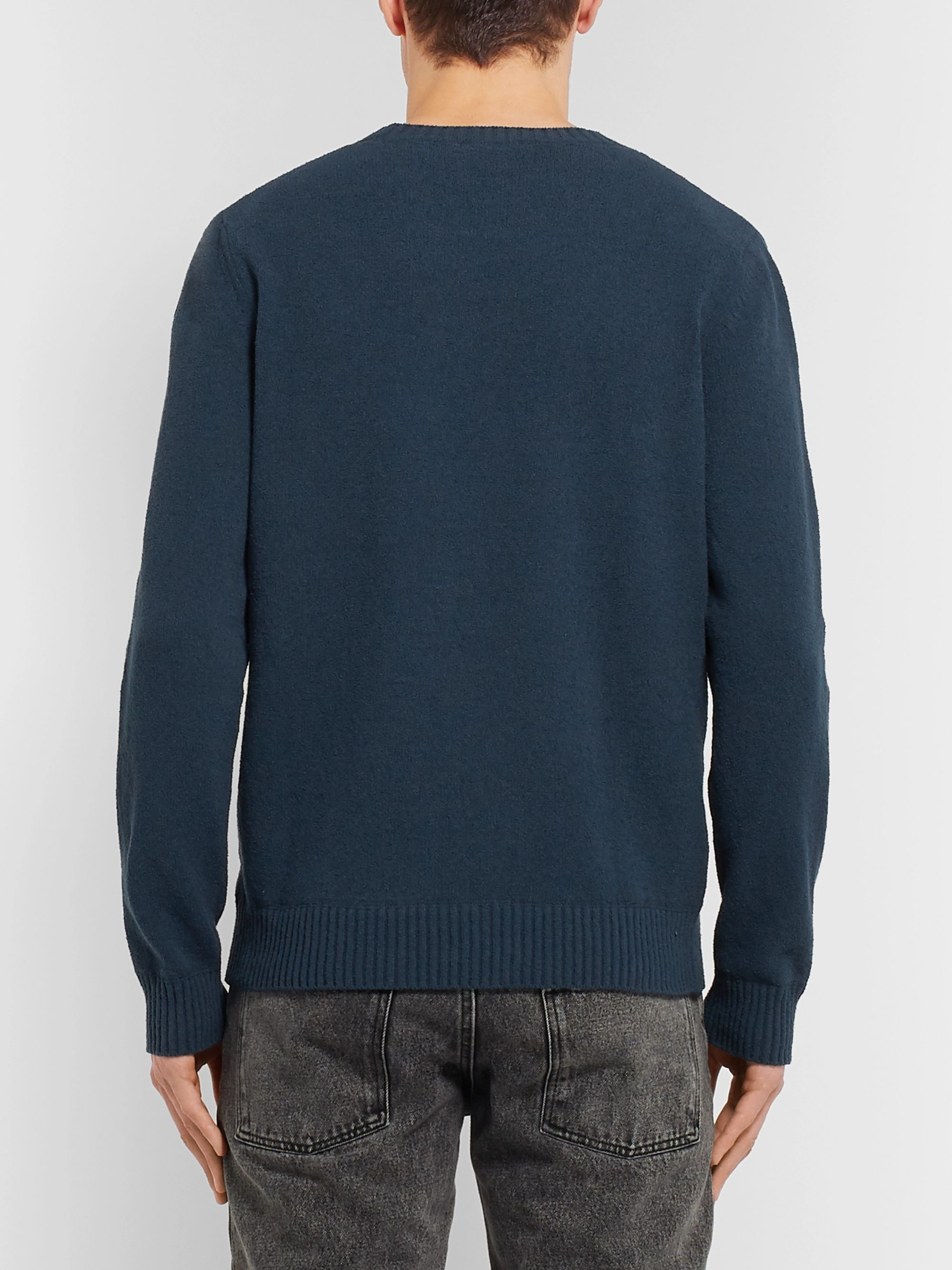 A.P.C. Micka Logo-Embroidered Textured Cotton-Blend Sweater