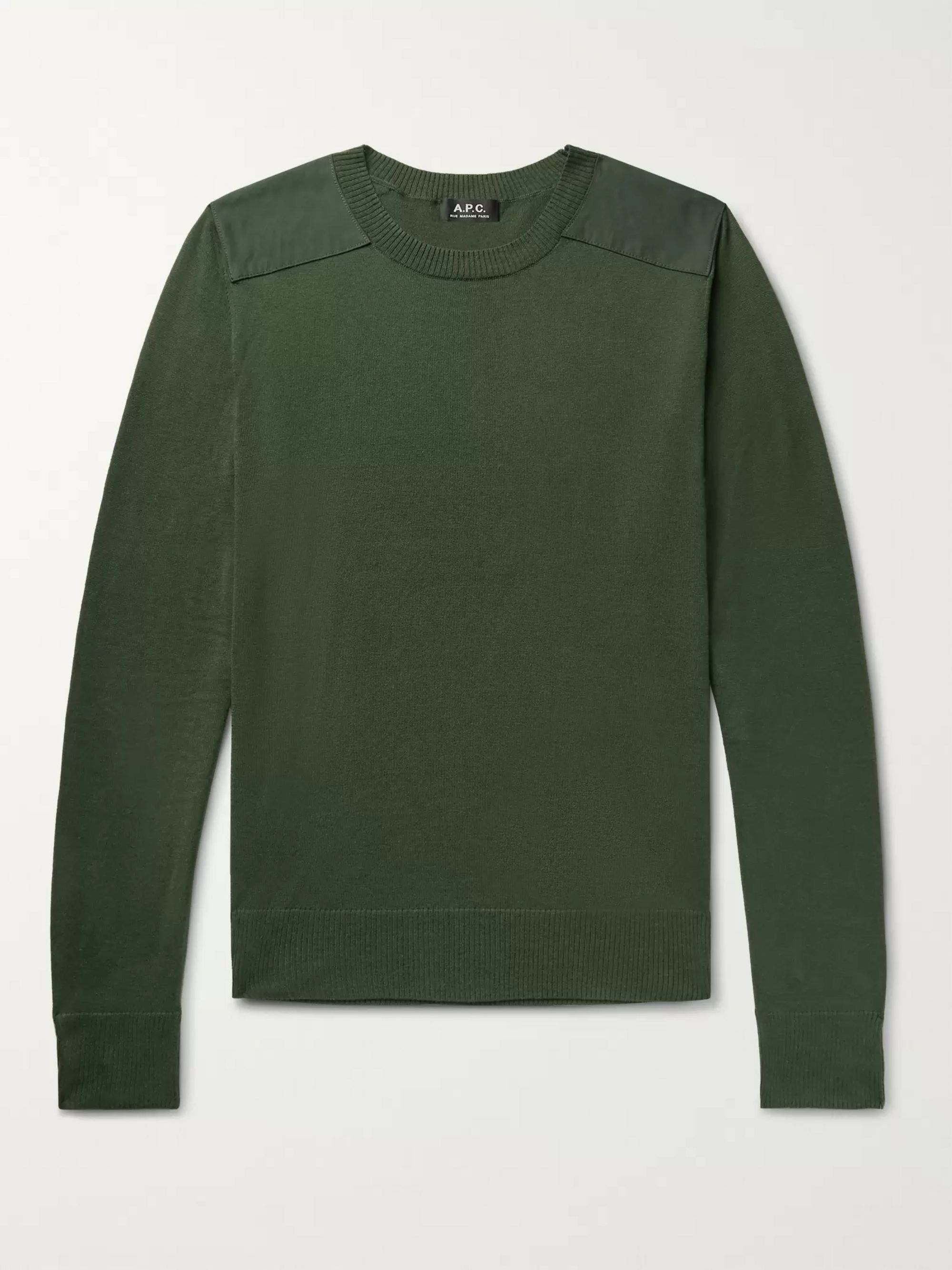 A.P.C. Ernest Canvas-Trimmed Knitted Sweater