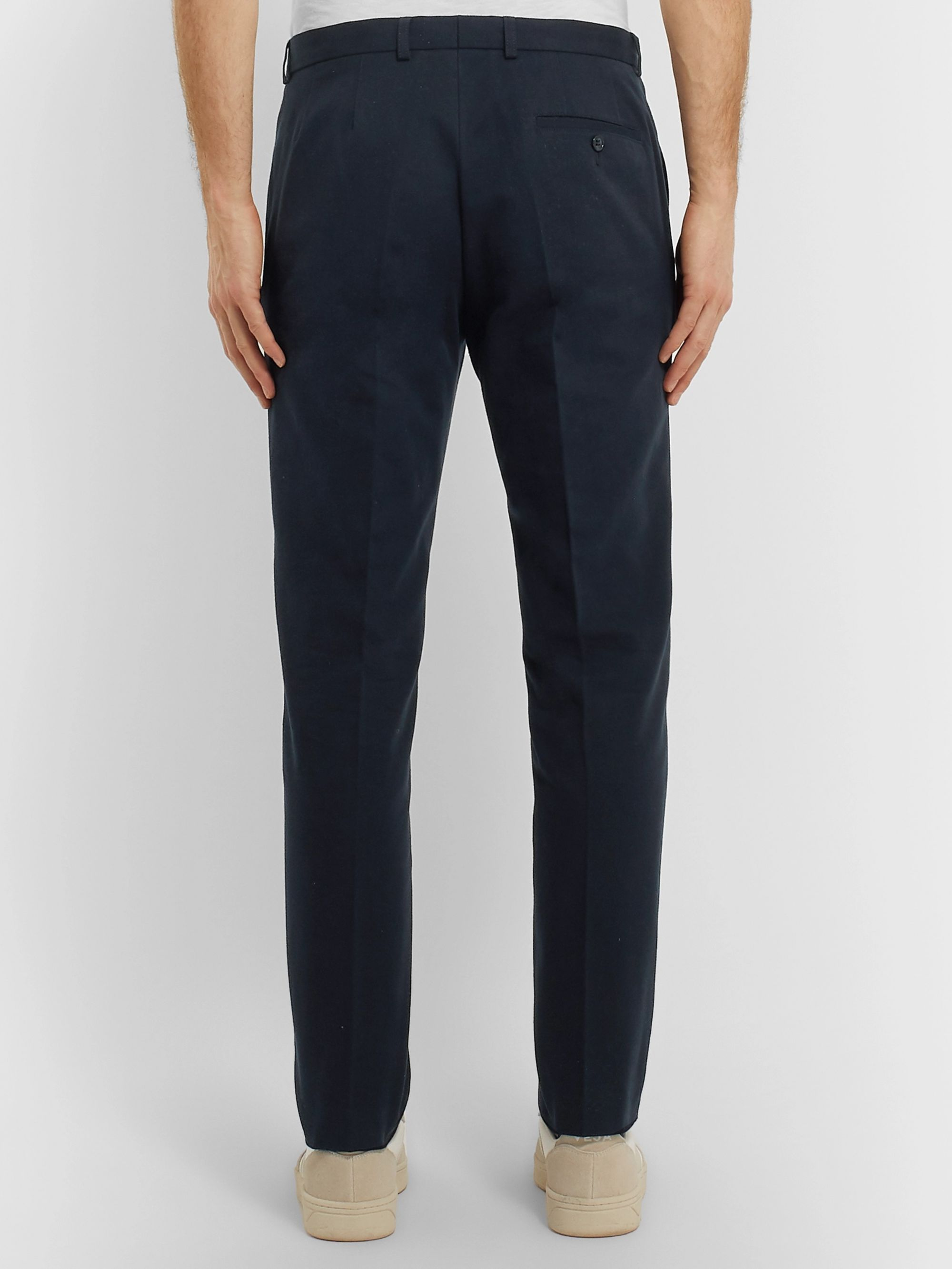 A.P.C. Navy Cropped Slim-Fit Mercerised Cotton-Canvas Trousers