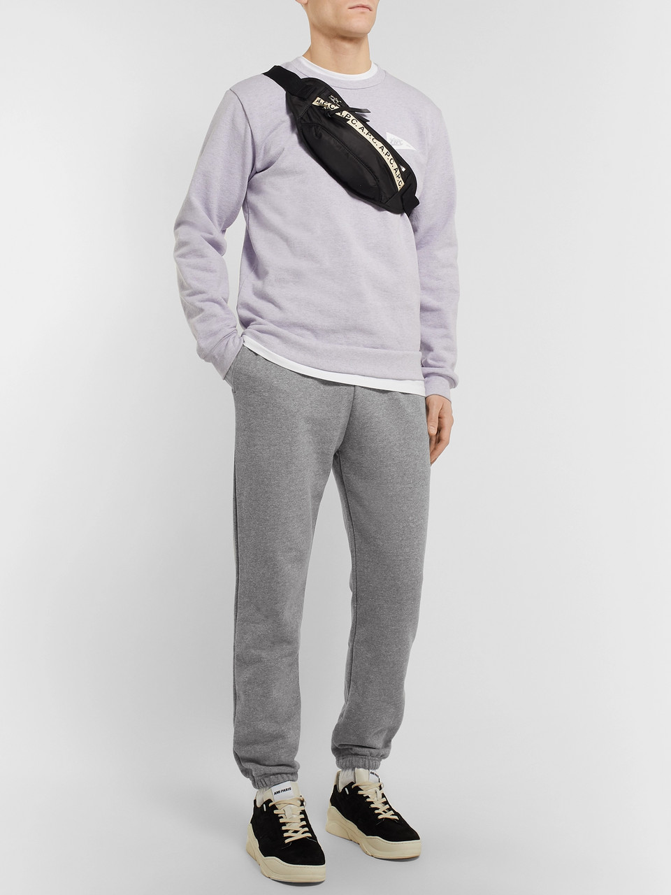 A.P.C. Augustus Slim-Fit Tapered Logo-Print Loopback Cotton-Blend Jersey Sweatpants