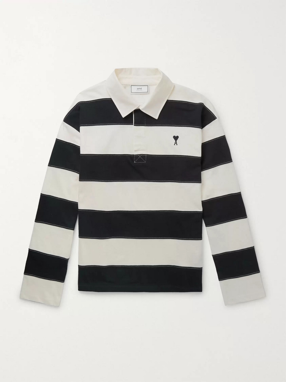 AMI Logo-Embroidered Striped Cotton-Jersey Rugby Shirt
