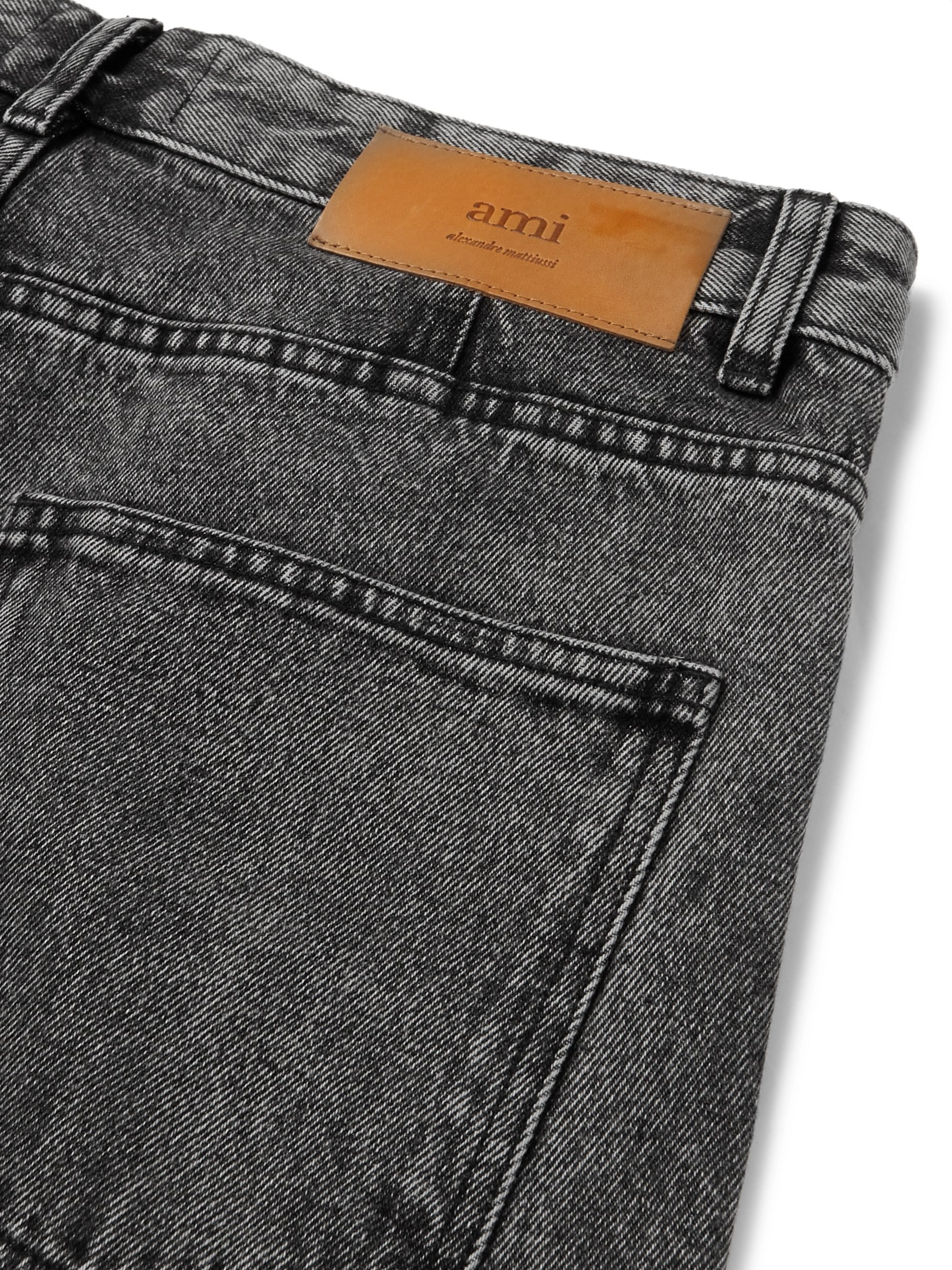 AMI Slim-Fit Faded-Denim Jeans