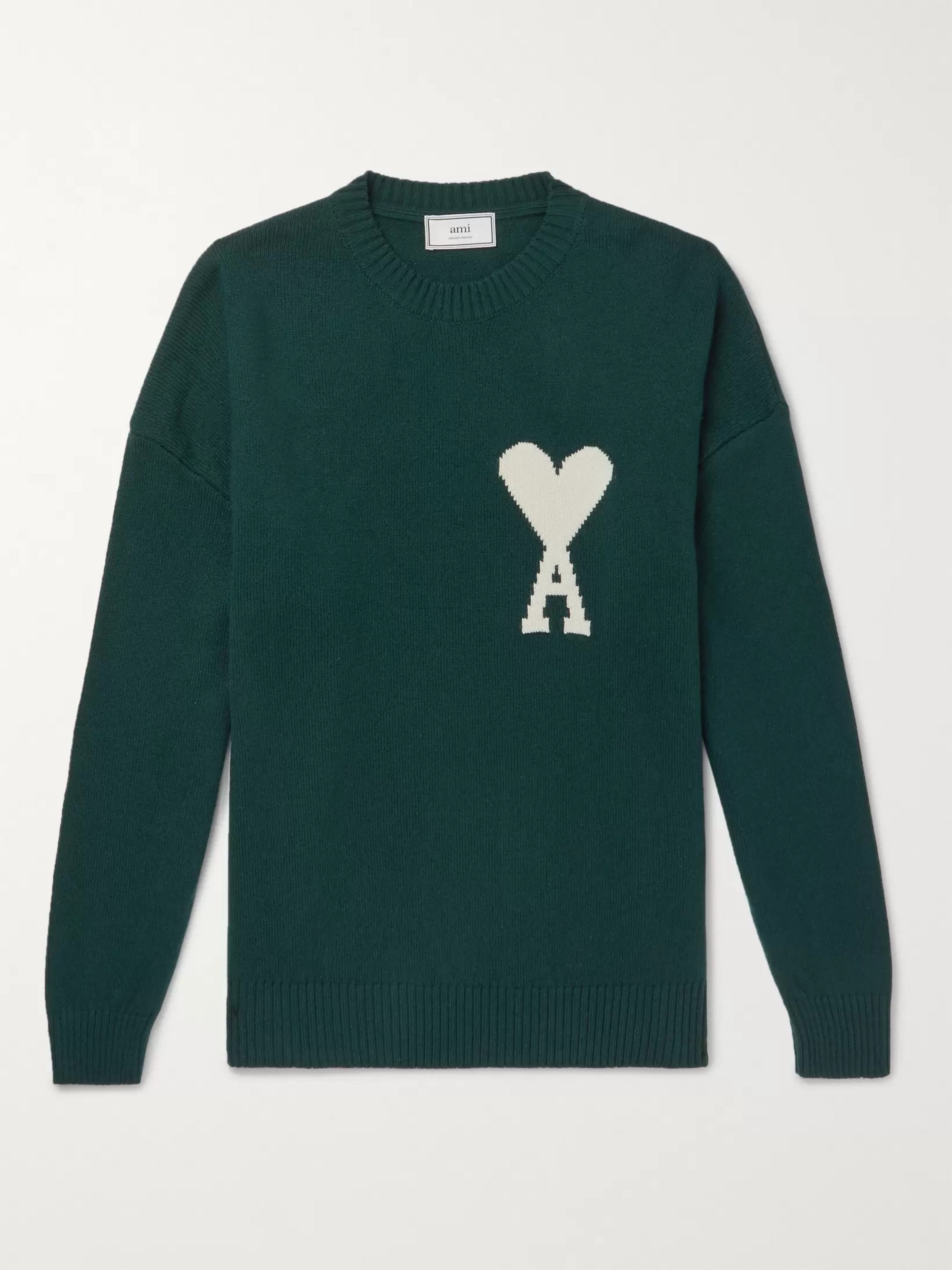 AMI Oversized Logo-Intarsia Knitted Sweater