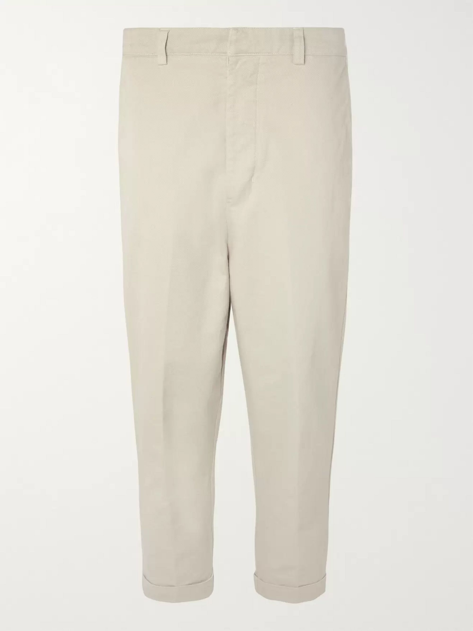 AMI Cropped Tapered Cotton-Twill Trousers