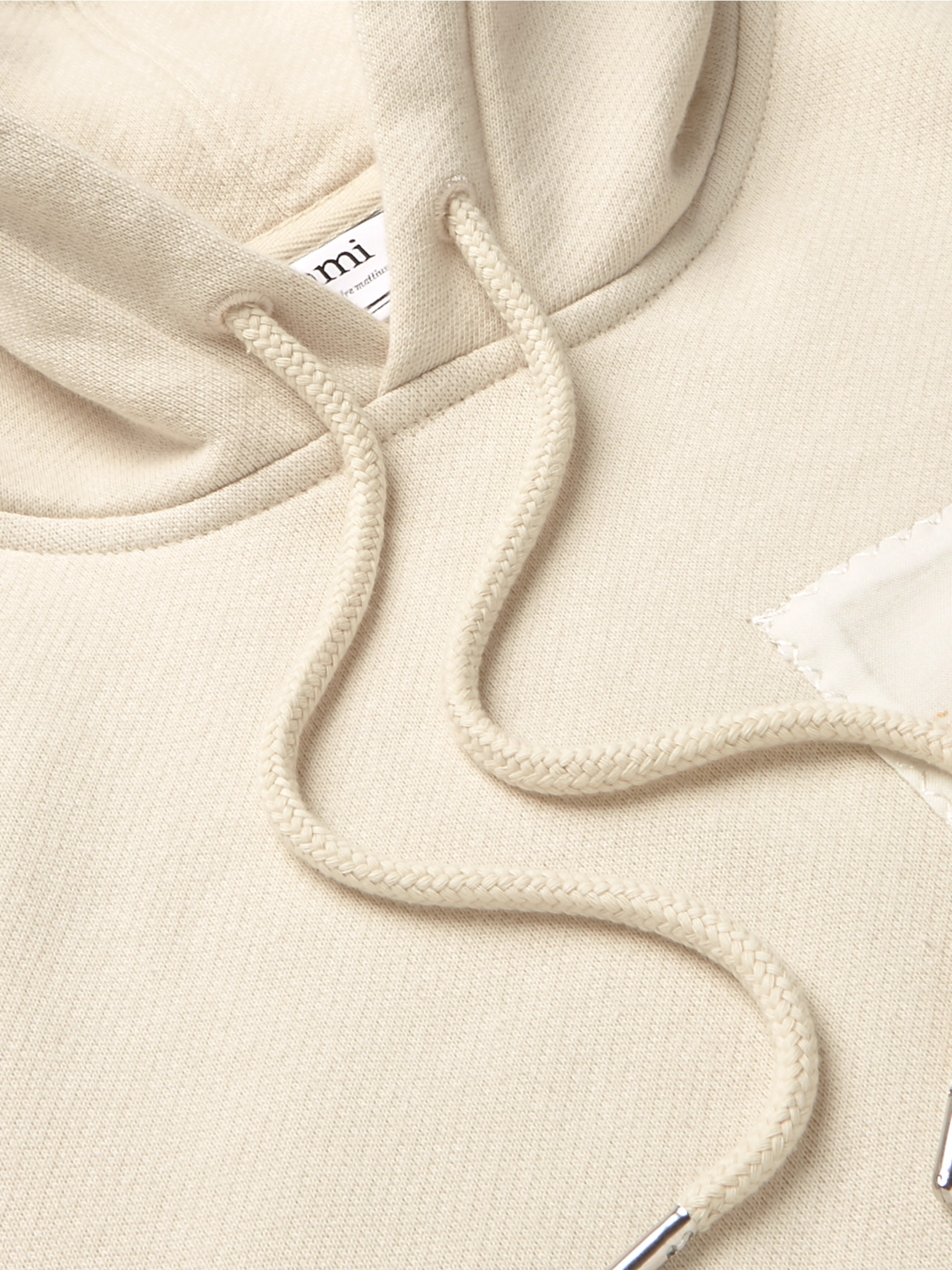 AMI Appliquéd Fleece-Back Cotton-Jersey Hoodie