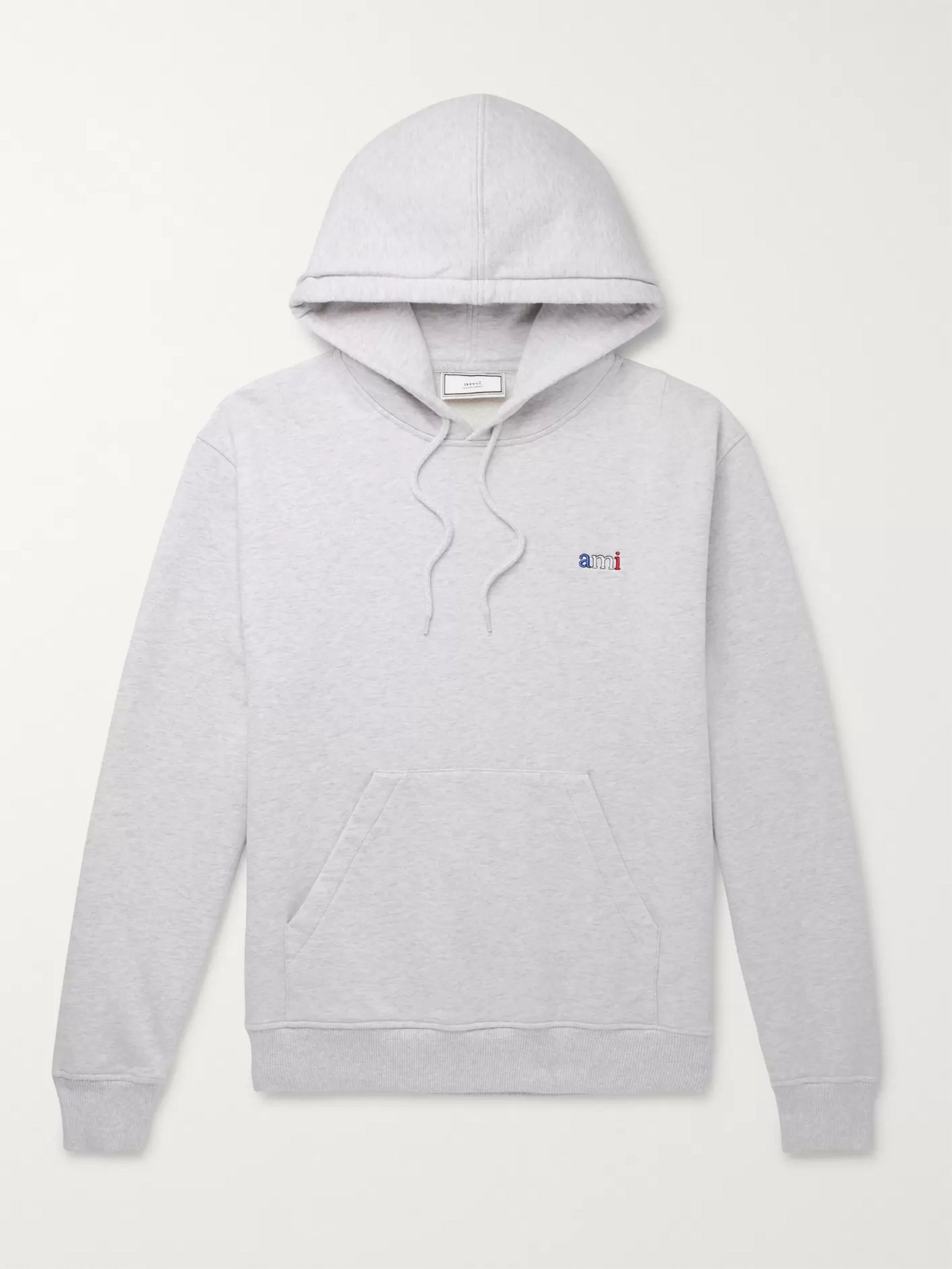 AMI Logo-Embroidered Loopback Cotton-Jersey Hoodie