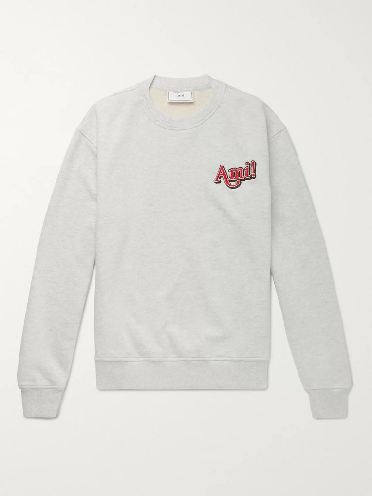 AMI Logo-Embroidered Mélange Loopback Cotton-Jersey Sweatshirt
