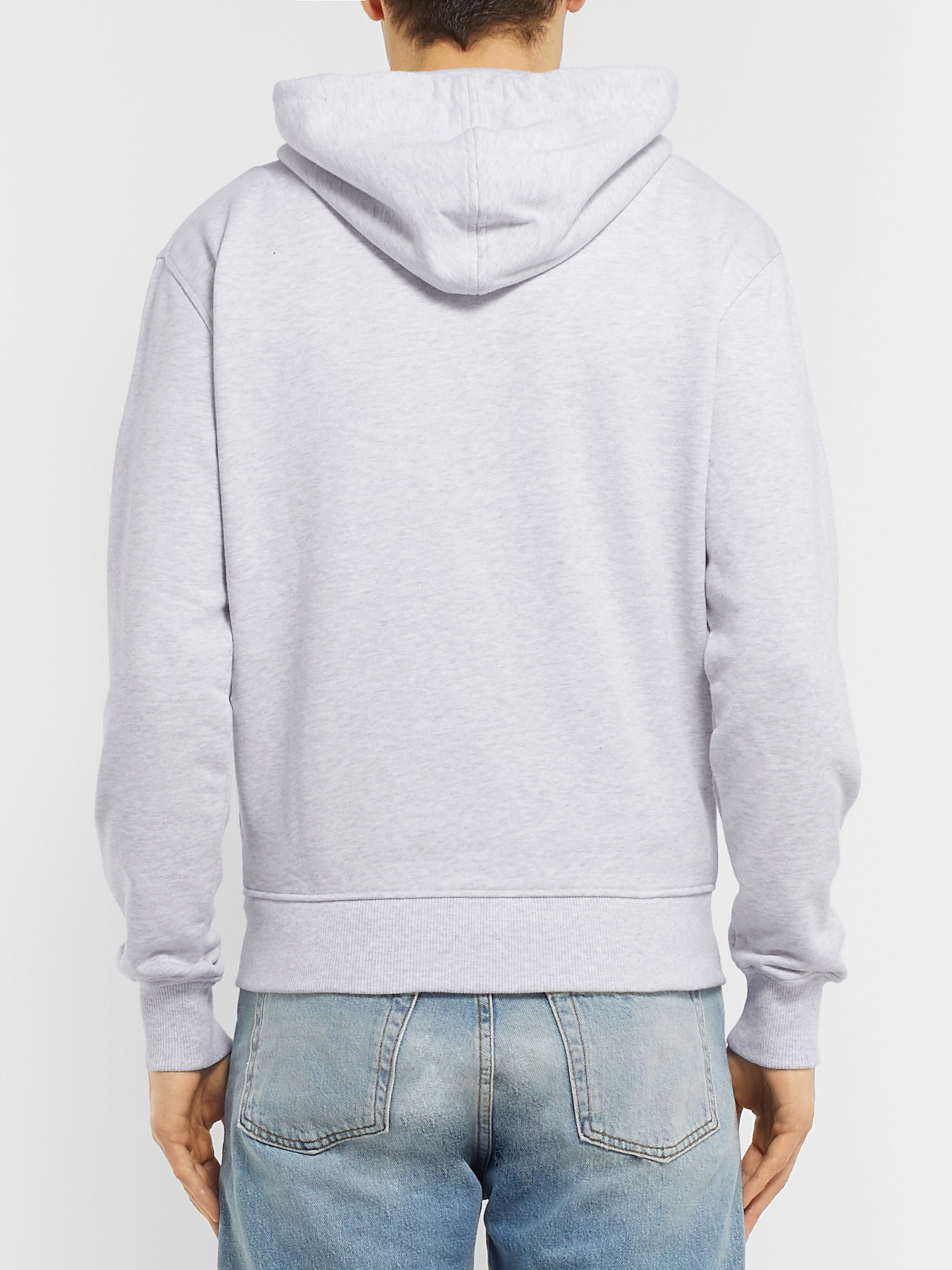 AMI + The Smiley Company Logo-Appliquéd Mélange Loopback Cotton-Jersey Zip-Up Hoodie