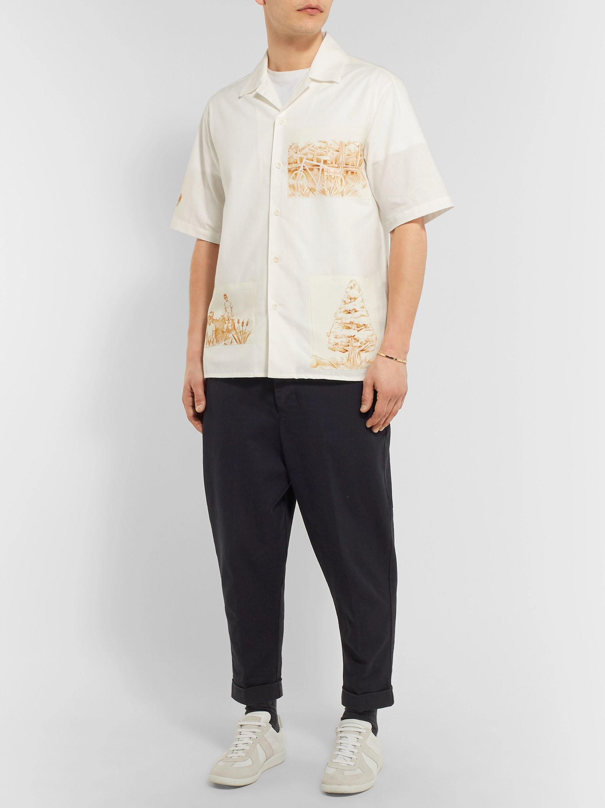 AMI Camp-Collar Appliquéd Cotton, Linen and Ramie-Blend Shirt