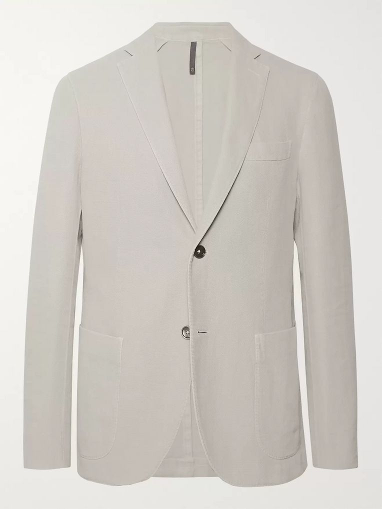 Incotex Stone Slim-Fit Basketweave Cotton and Ramie-Blend Blazer