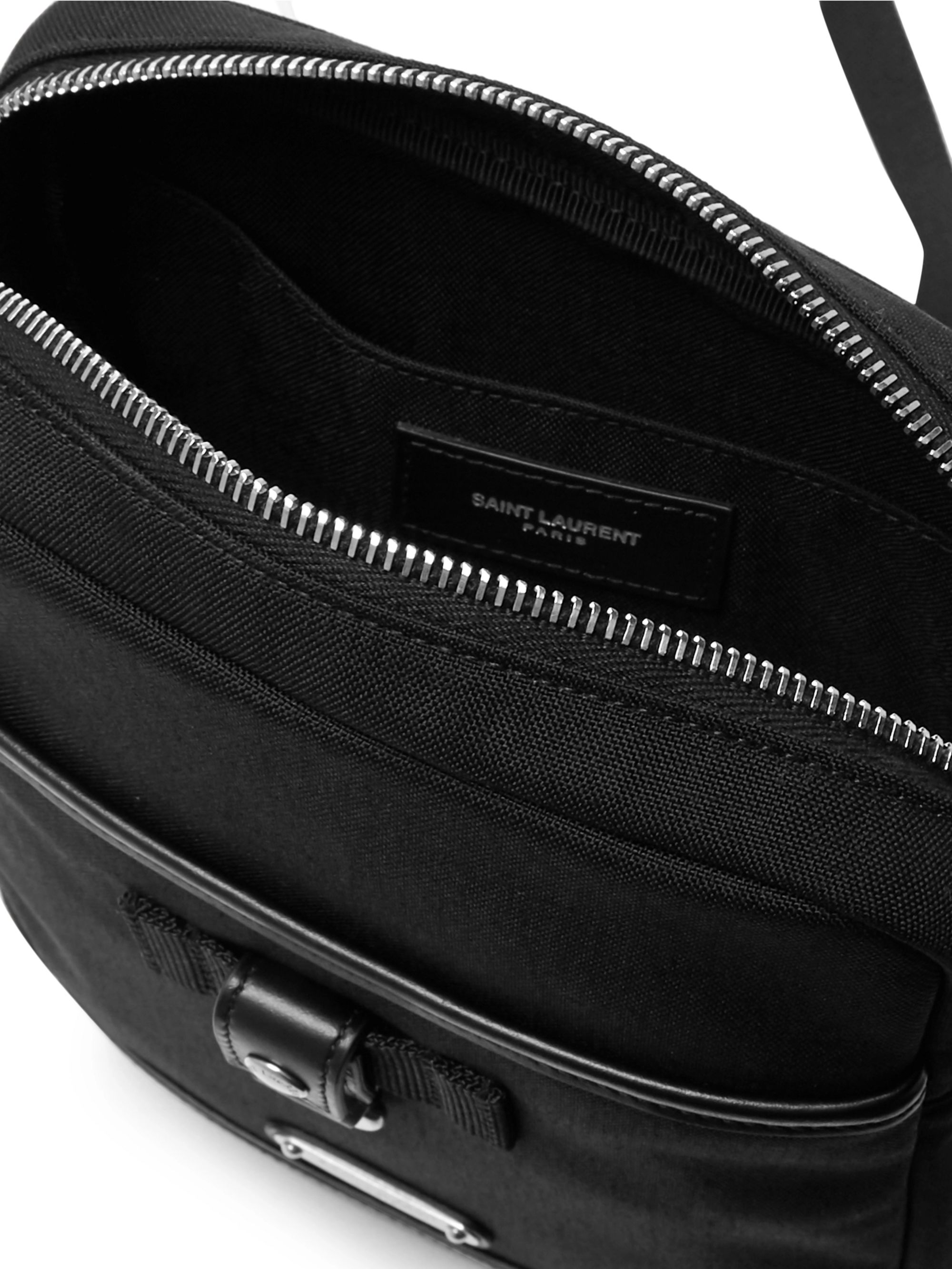 SAINT LAURENT Rivington Race Leather-Trimmed Canvas Messenger Bag