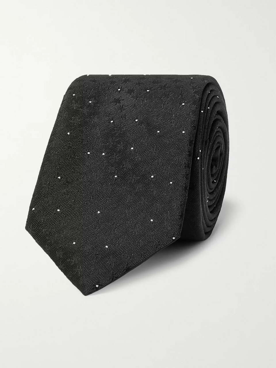 SAINT LAURENT 5cm Embroidered Pin-Dot Silk-Jacquard Tie