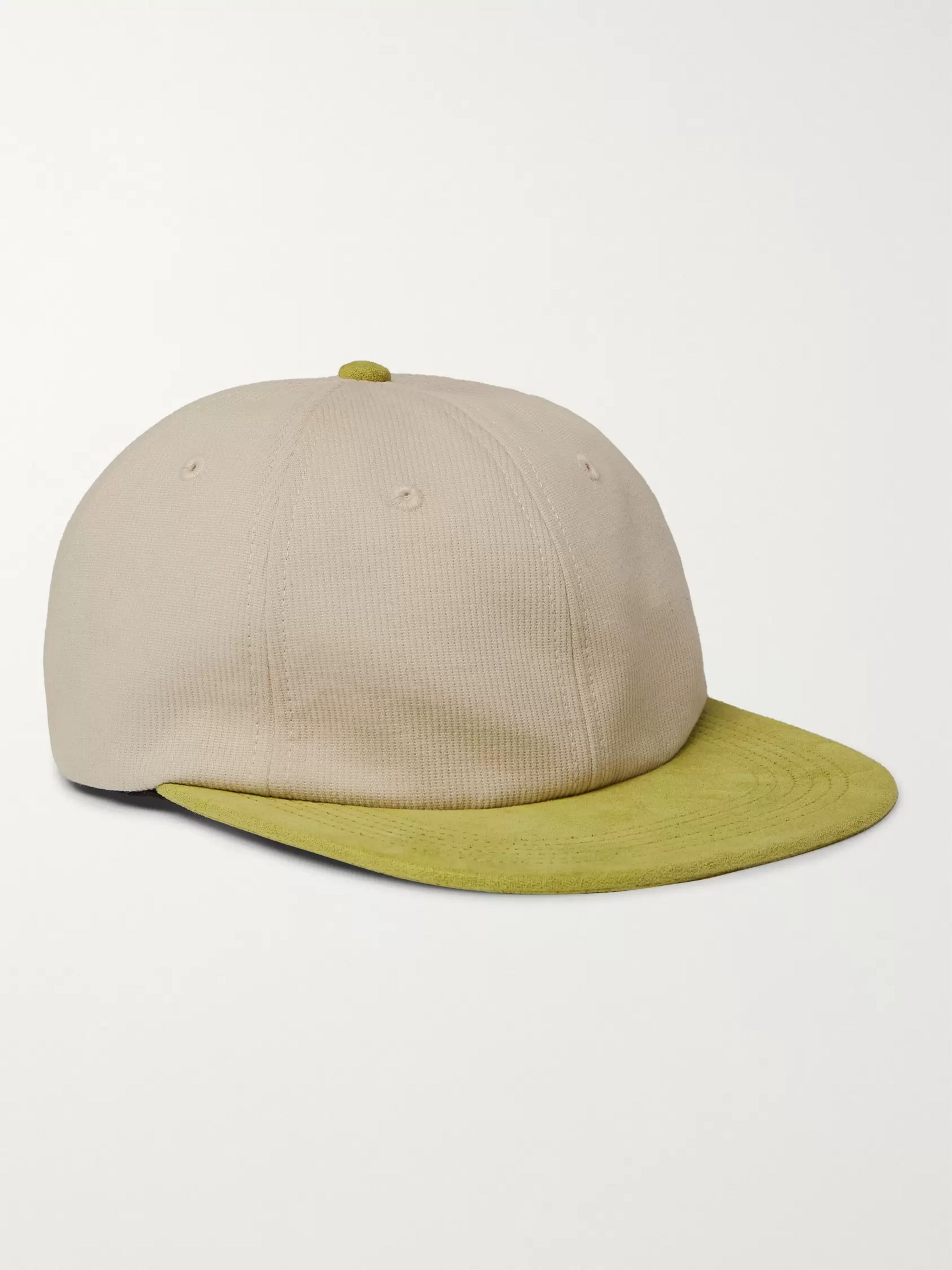 Pop Trading Company Logo-Embroidered Cotton and Suede Baseball Cap