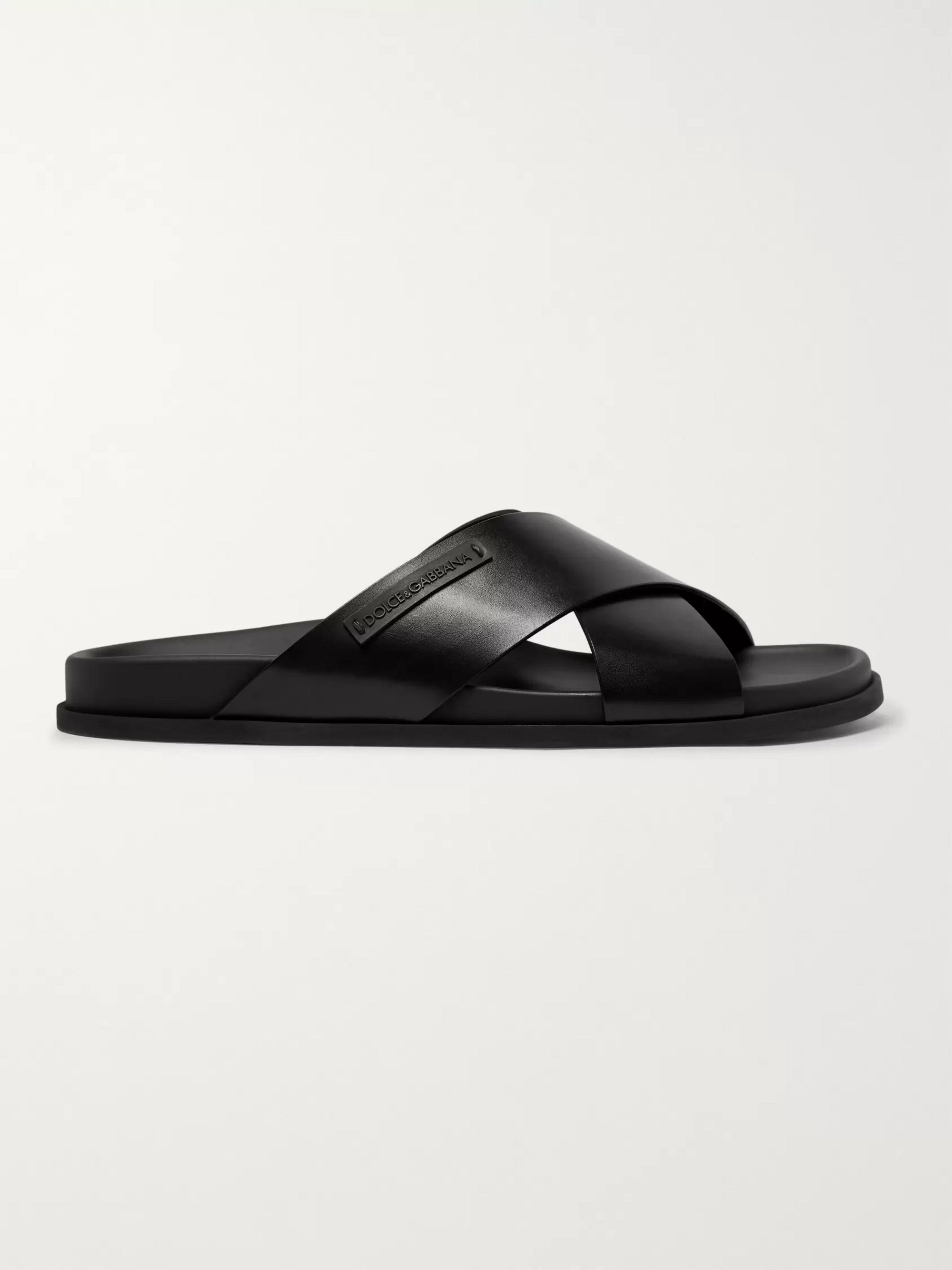 Dolce & Gabbana Logo-Appliquéd Leather Sandals