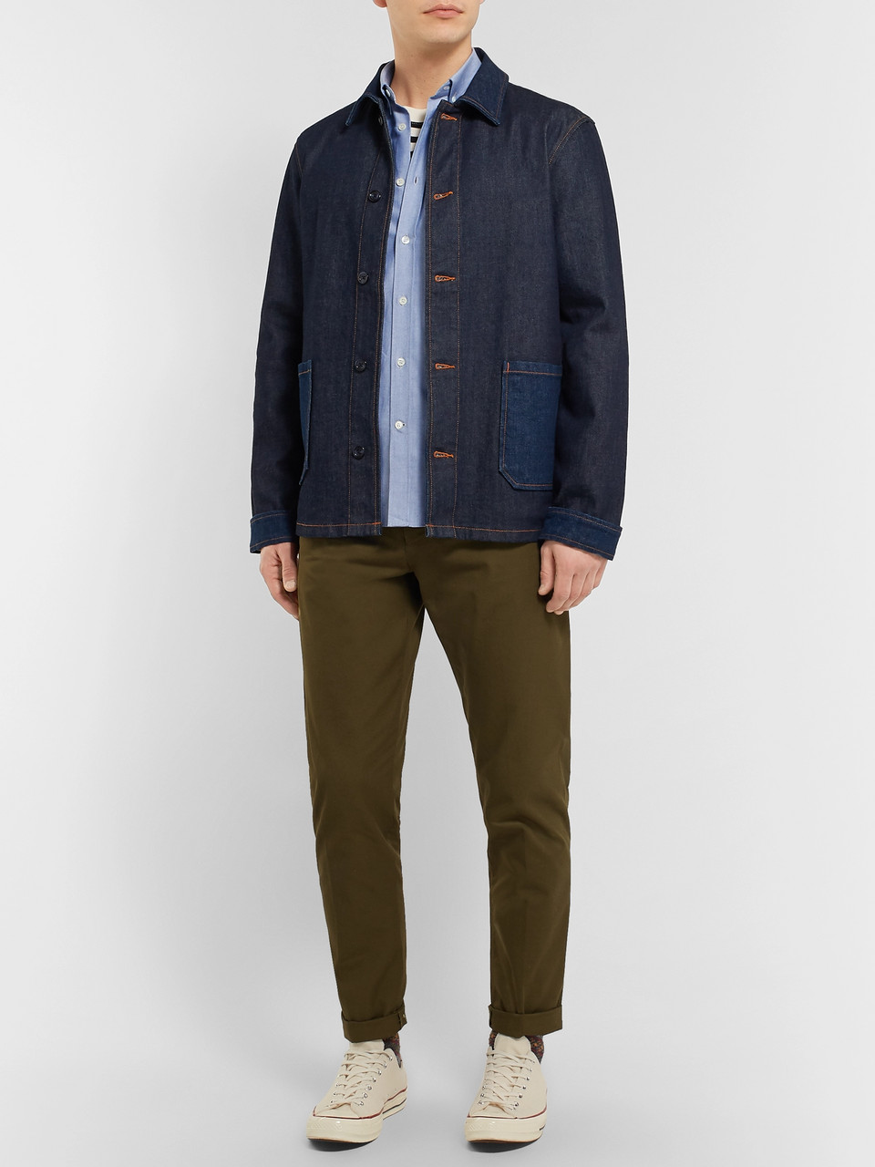 Maison Kitsuné Button-Down Collar Logo-Embroidered Cotton Oxford Shirt
