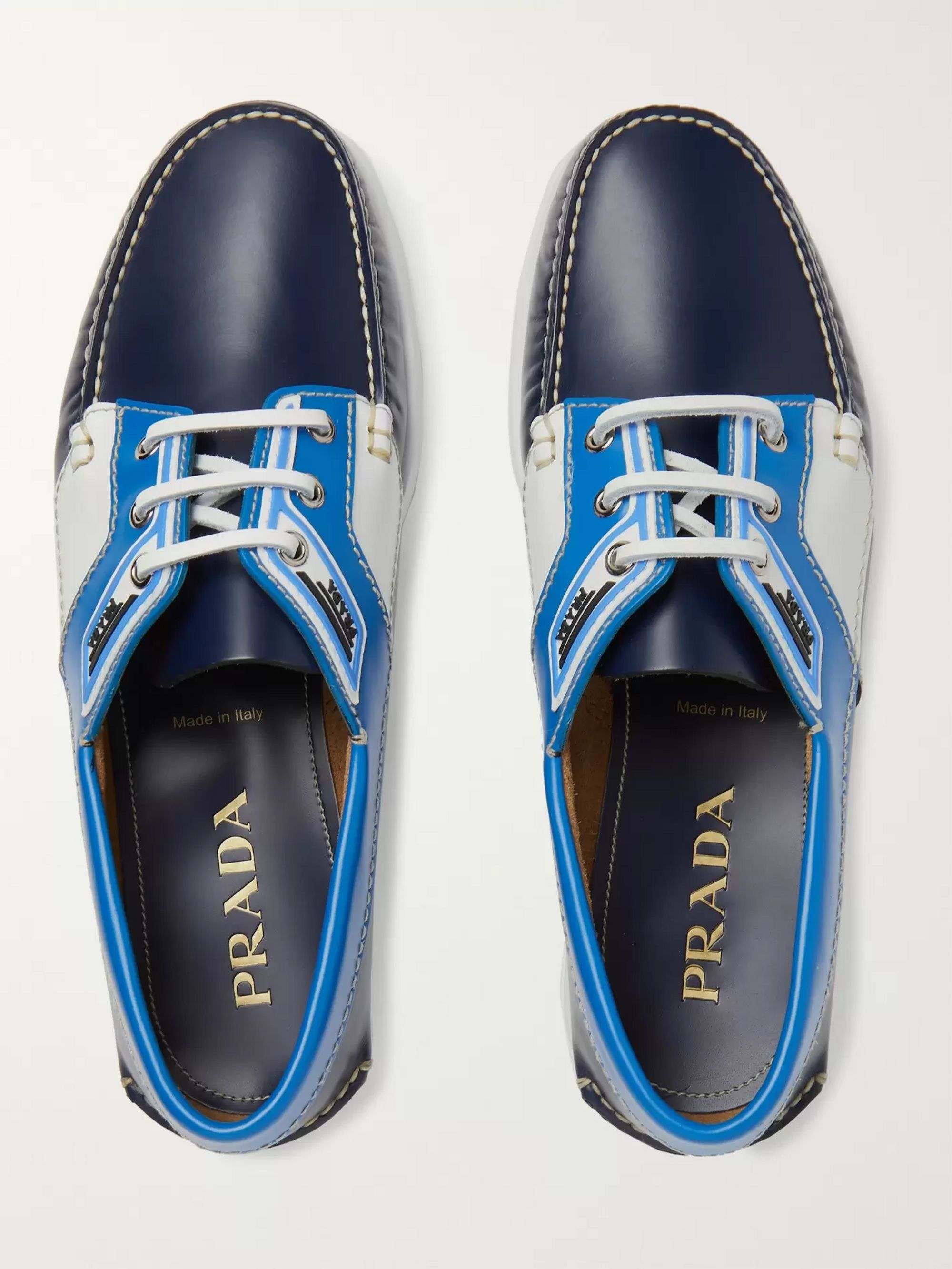 Prada Colour-Block Leather Boat Shoes