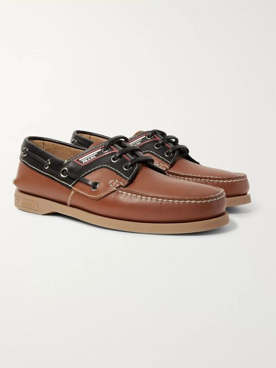 Prada Leather Boat Shoes