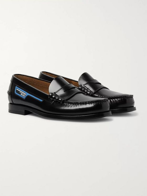 Prada Logo-Appliquéd Spazzolato Leather Penny Loafers