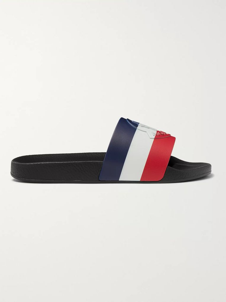 Moncler Logo-Embossed Striped Rubber Slides