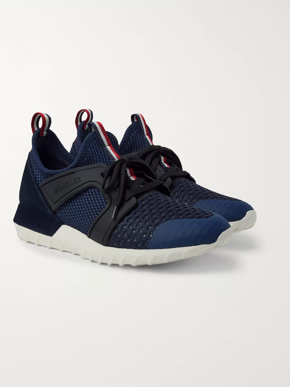 Moncler Emilien Suede and Rubber-Trimmed Mesh Sneakers