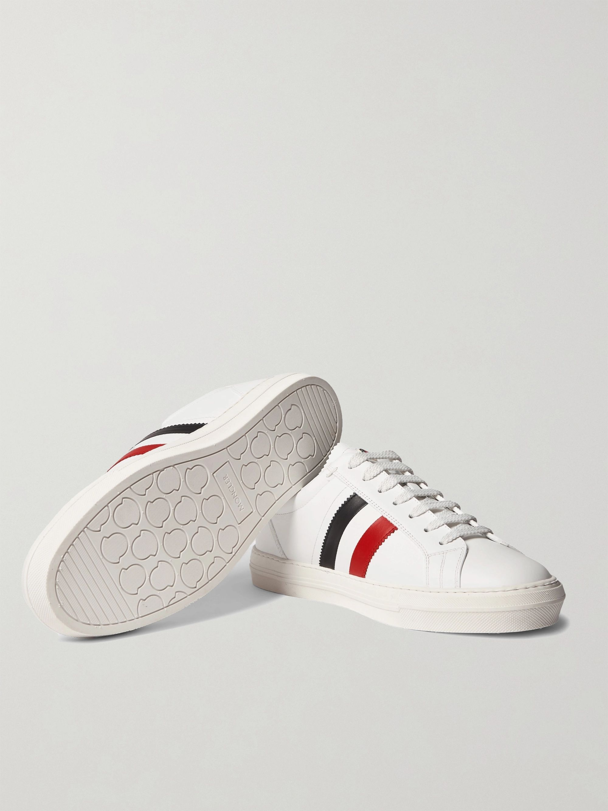 MONCLER New Monaco Striped Leather Sneakers