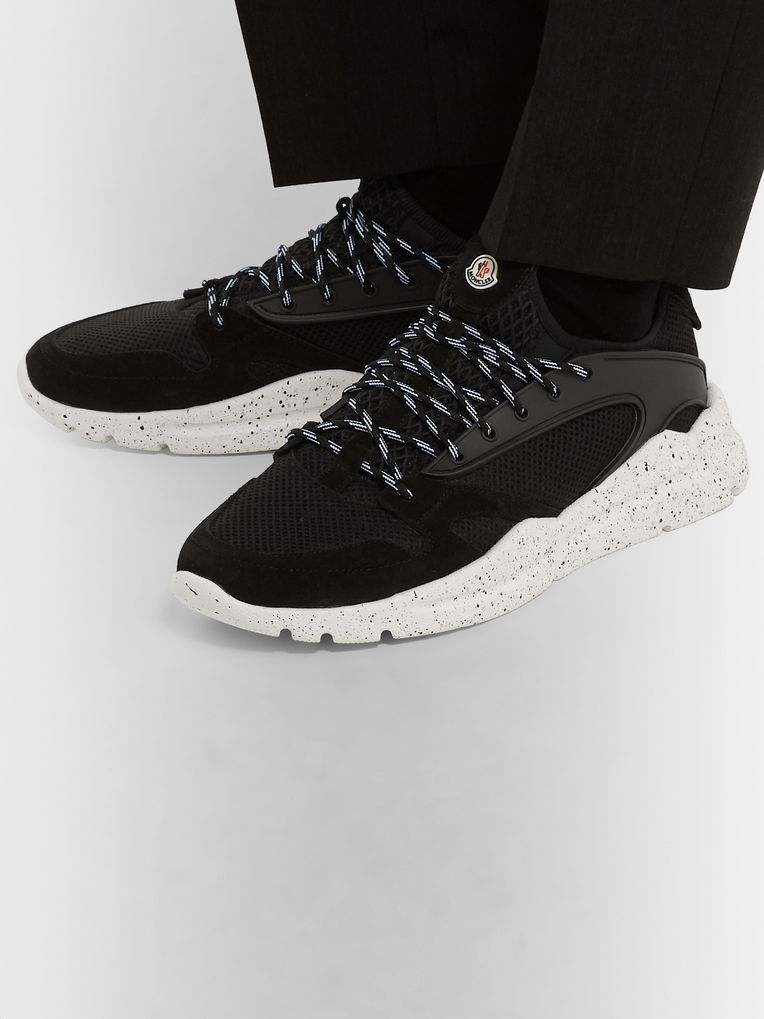 Moncler Anakin Rubber-Trimmed Suede and Mesh Sneakers