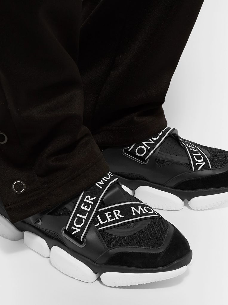 Moncler Bakary Logo-Trimmed Mesh, Suede and Leather Sneakers