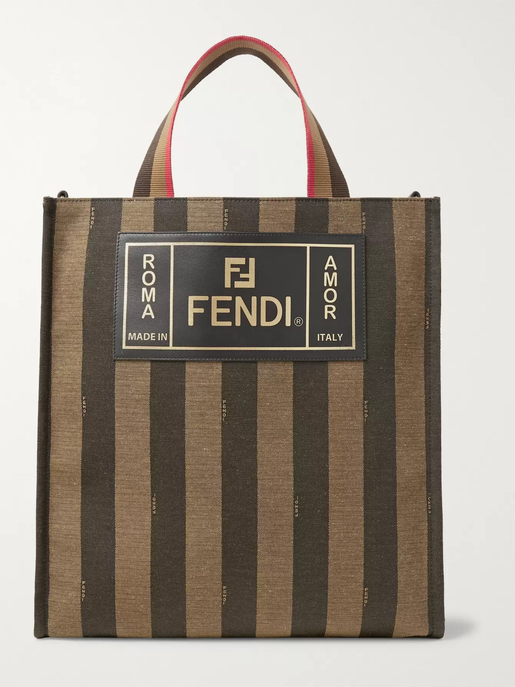 13ae2668495ef Brown Leather-Trimmed Striped Canvas Tote Bag   Fendi   MR PORTER