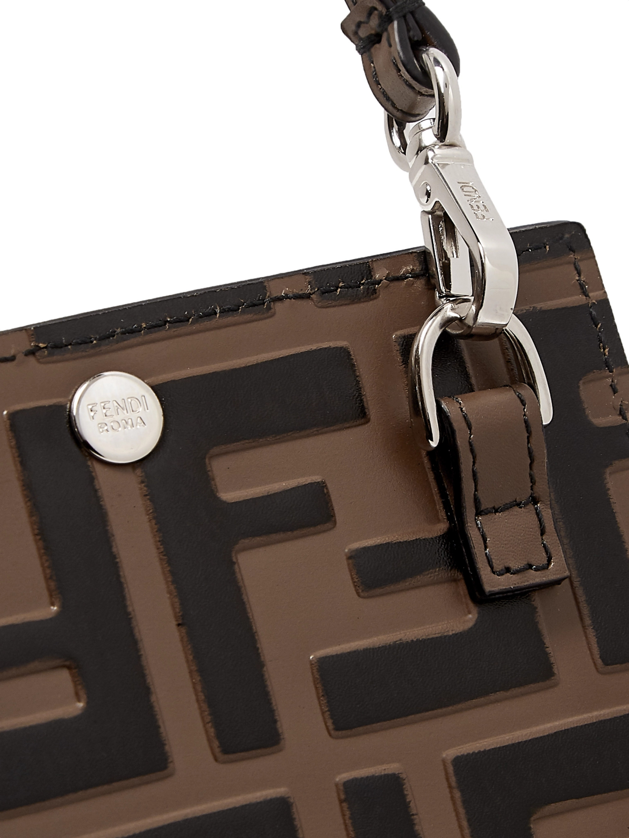 Fendi Logo-Debossed Leather iPhone X Lanyard Case
