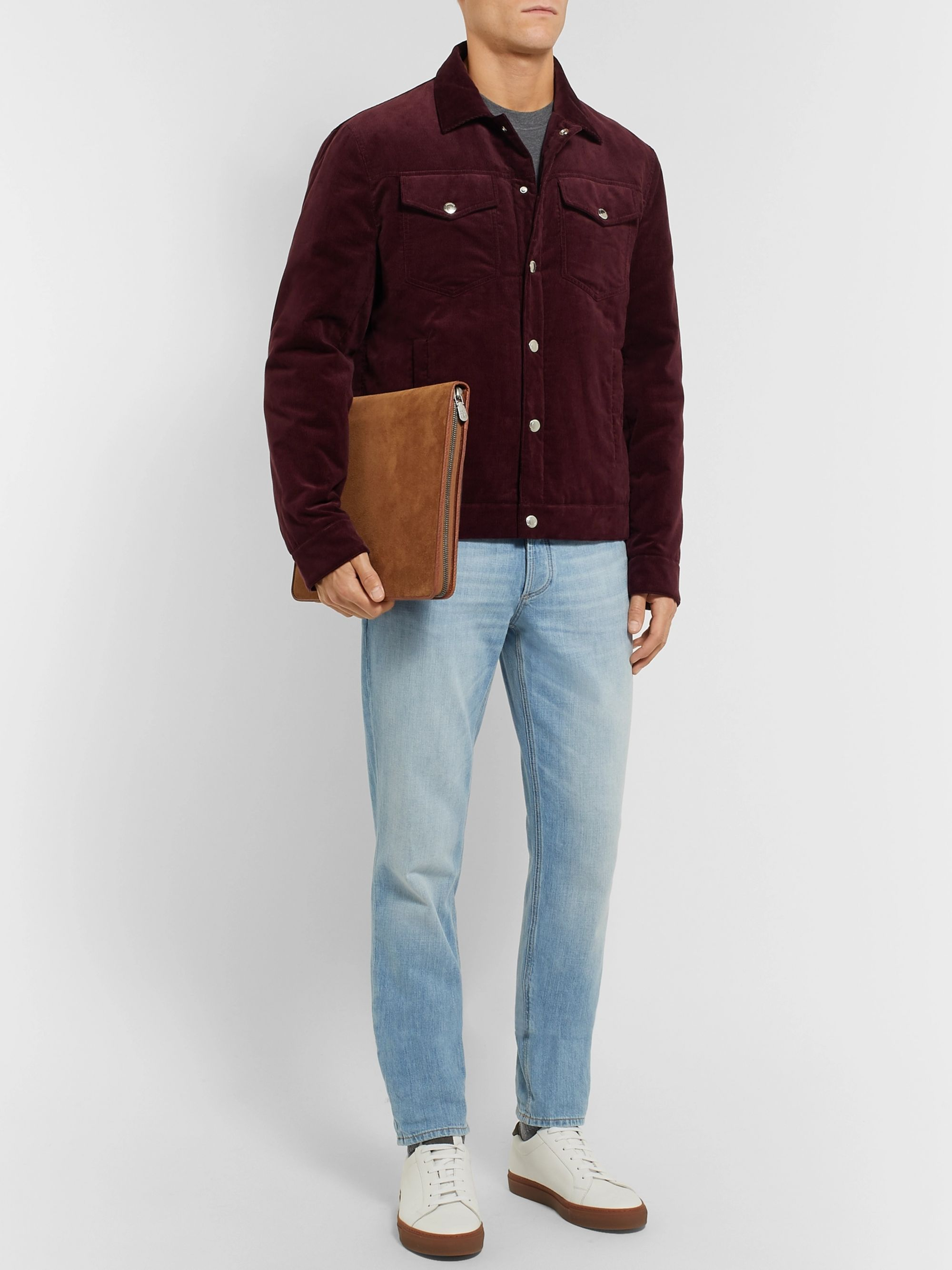Brunello Cucinelli Suede and Full-Grain Leather Pouch