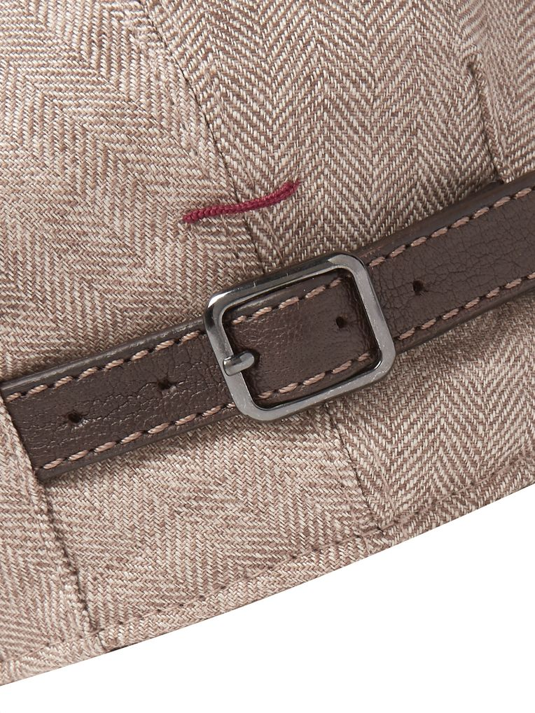 Brunello Cucinelli Leather-Trimmed Herringbone Linen Flat Cap