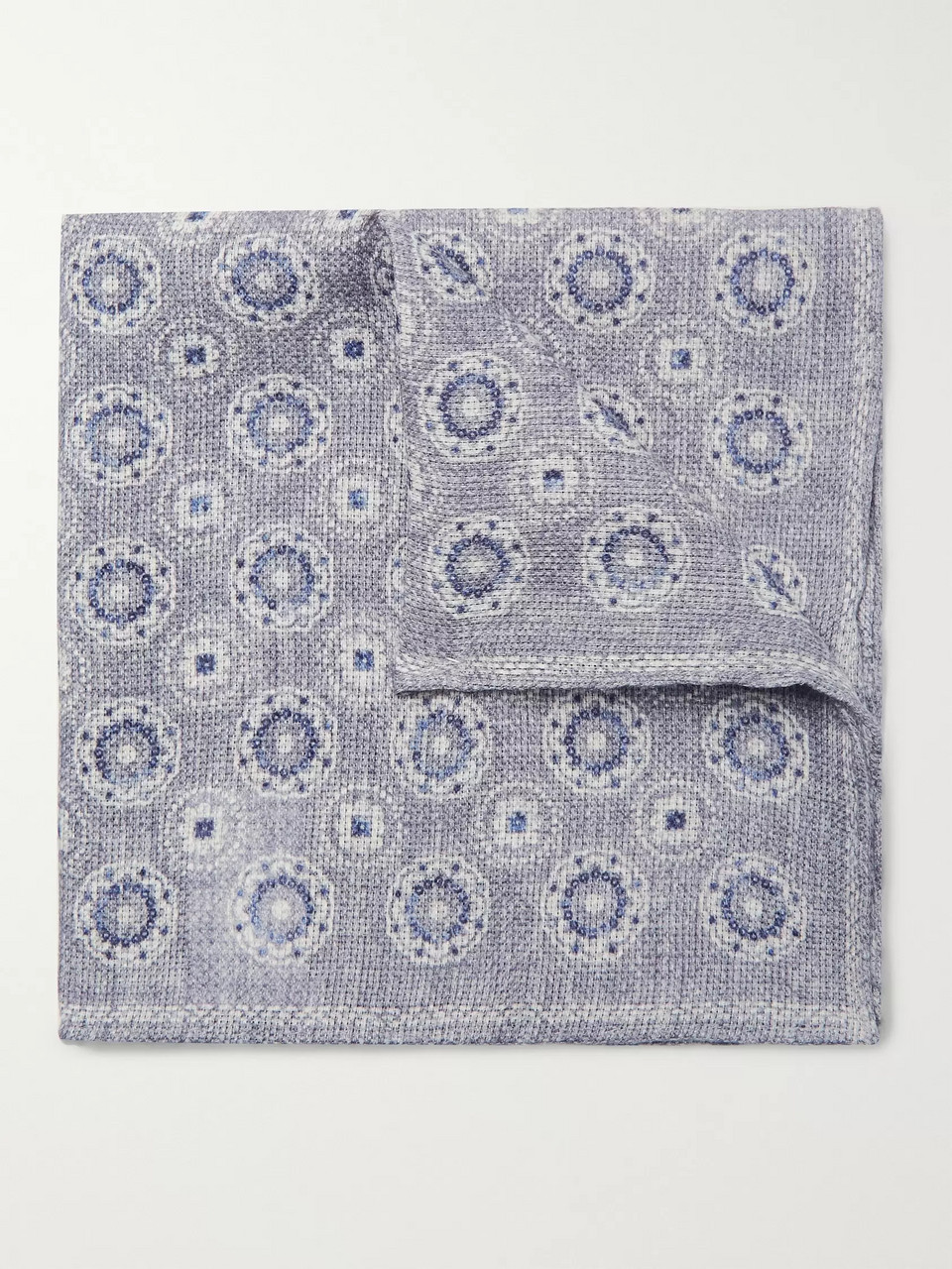Brunello Cucinelli Reversible Printed Linen and Cotton-Blend Pocket Square