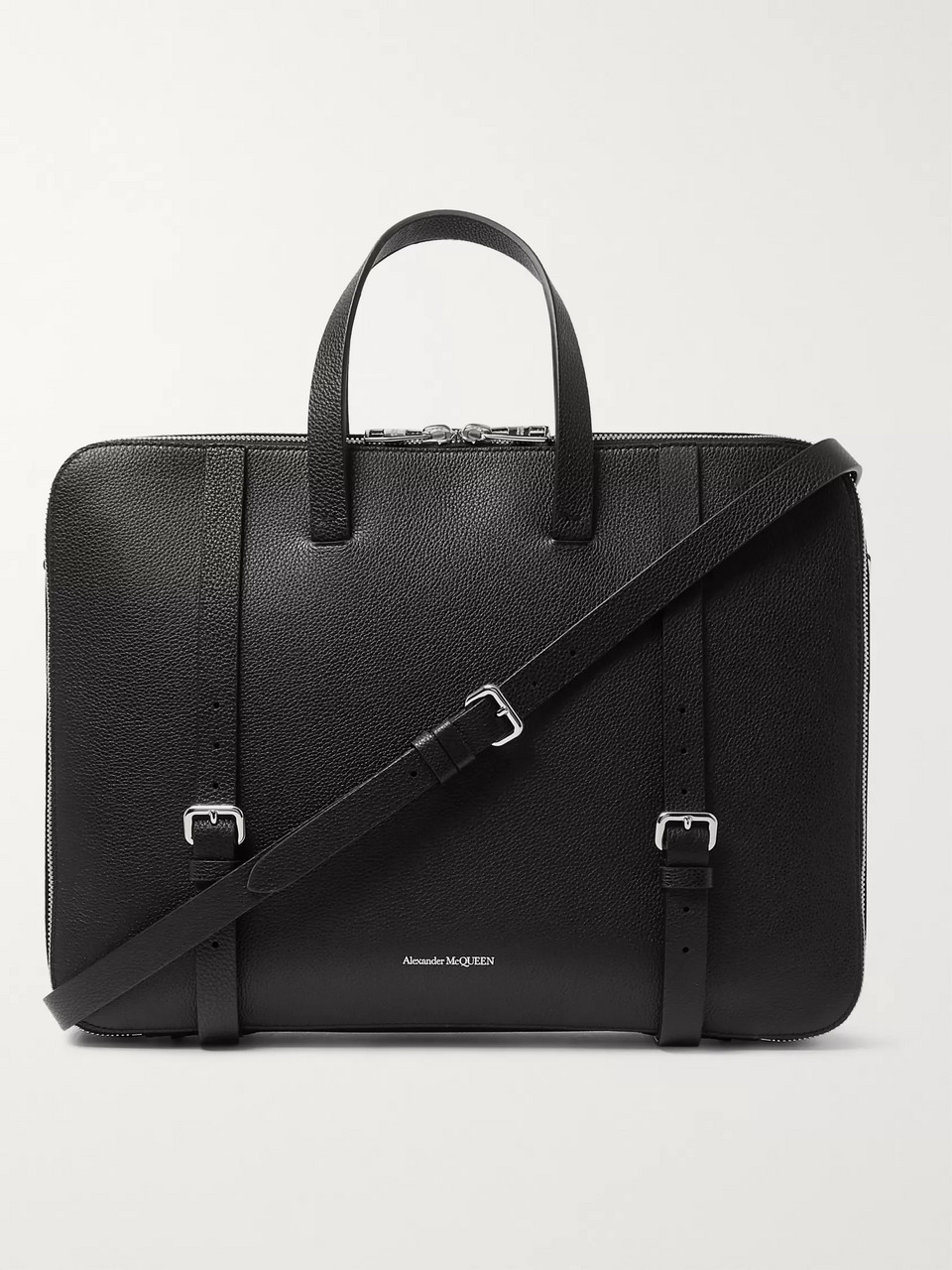 Alexander McQueen Full-Grain Leather Briefcase