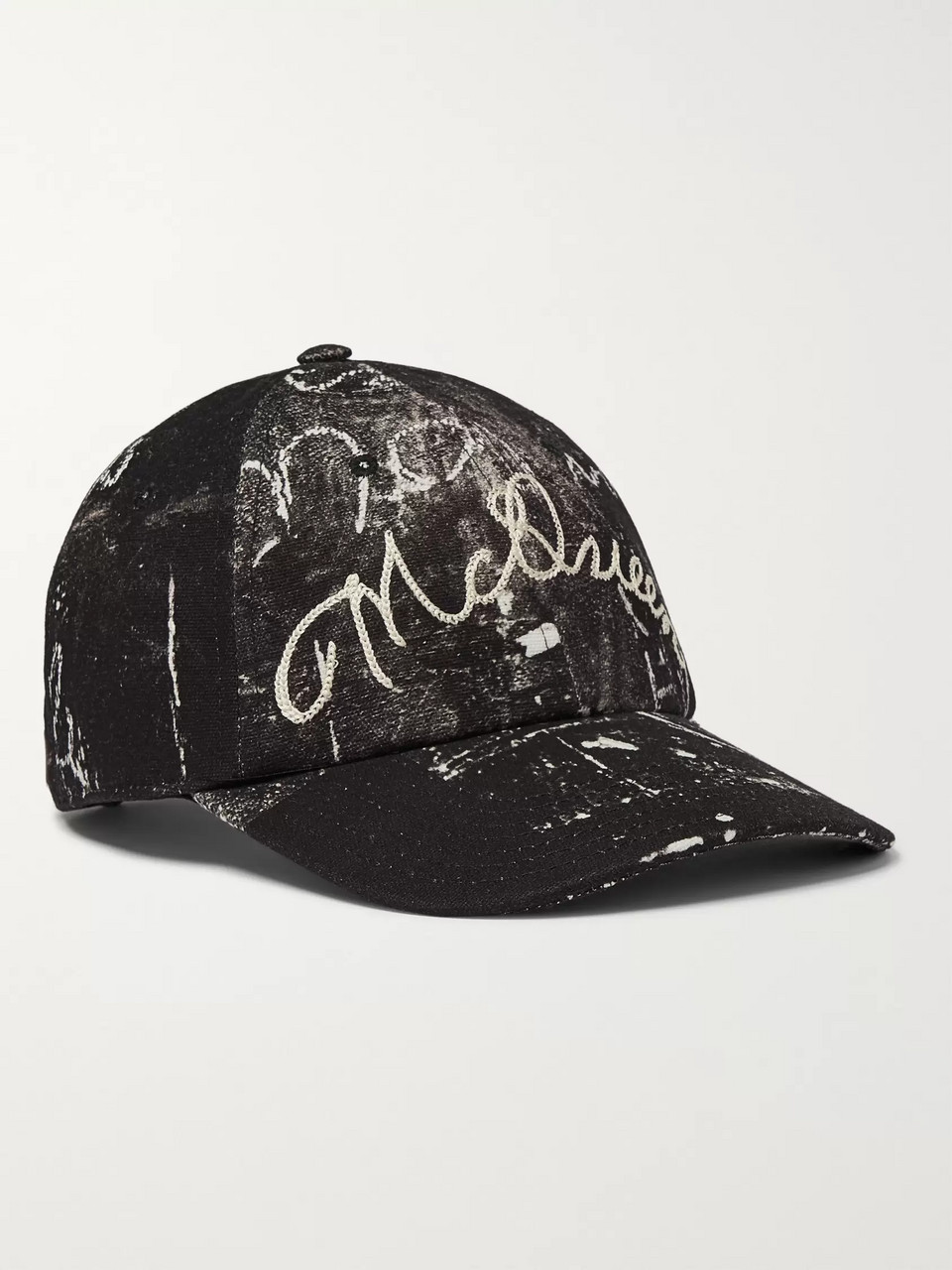 Alexander McQueen Leather-Trimmed Embroidered Printed Cotton-Canvas Baseball Cap