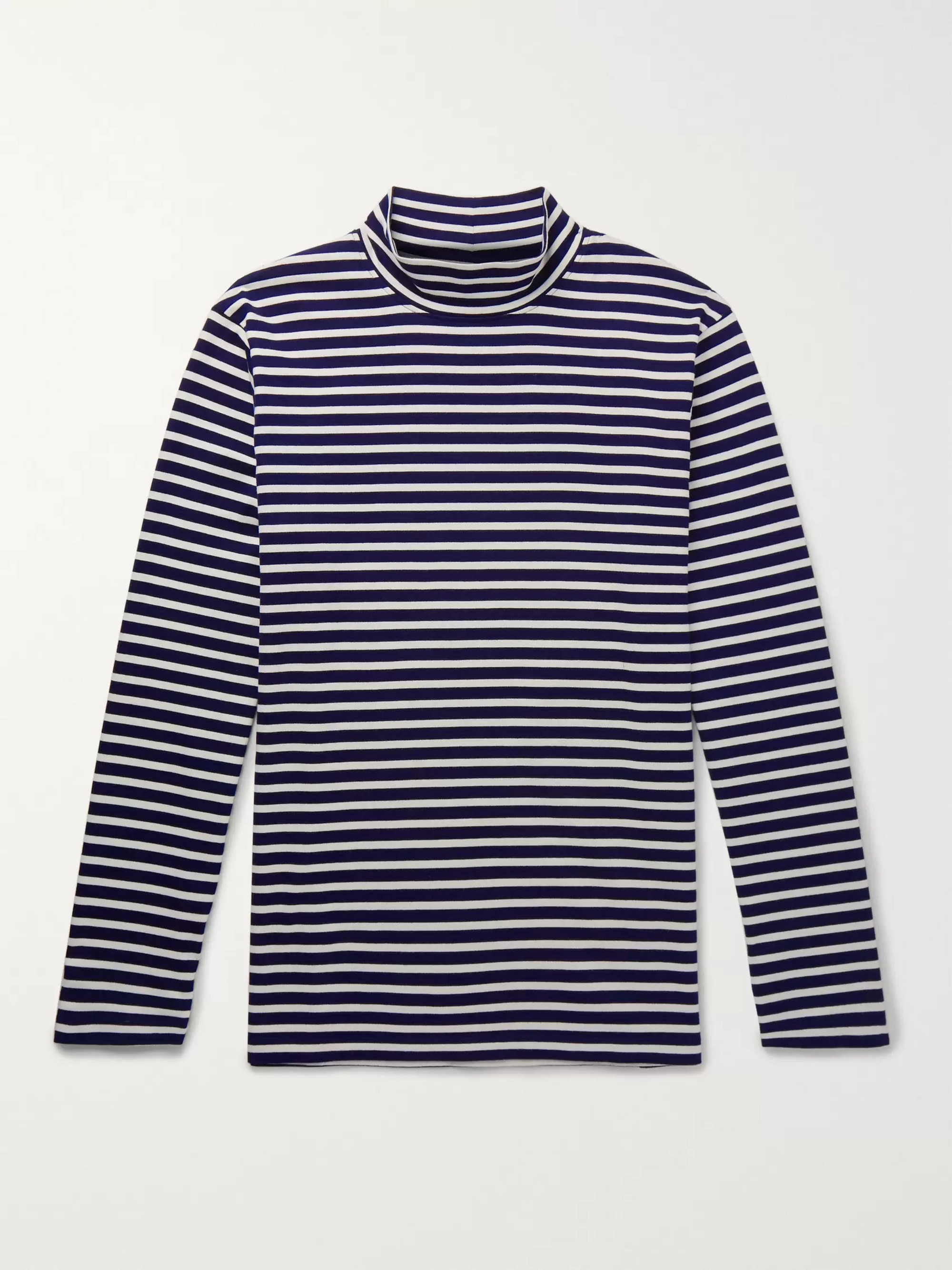 Mr P. Striped Cotton-Jersey Rollneck T-shirt