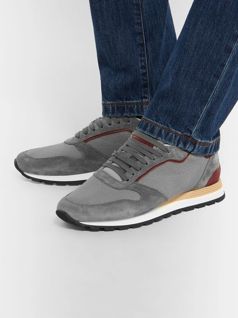 Brunello Cucinelli Leather And Suede-Trimmed Mesh Sneakers