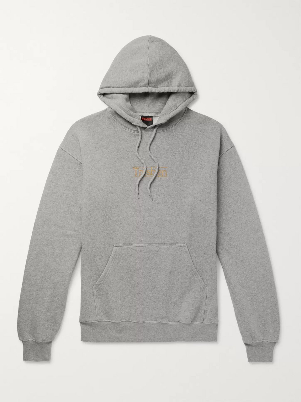 Très Bien Logo-Embroidered Mélange Fleece-Back Cotton-Jersey Hoodie