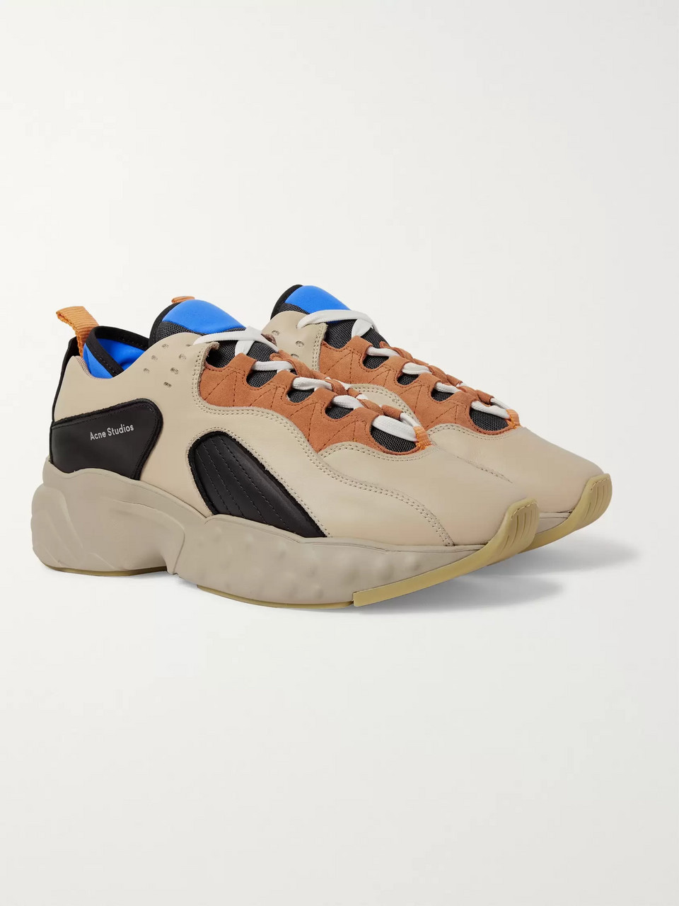 Acne Studios Rockaway Suede-Trimmed Leather Sneakers