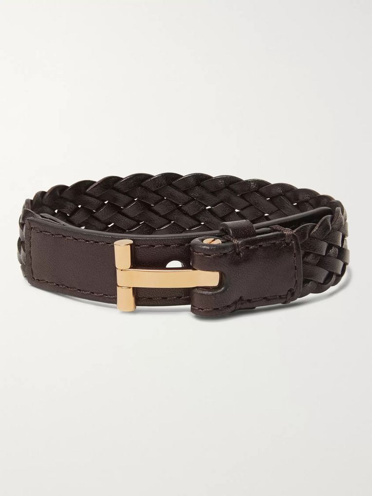 TOM FORD Woven Leather and Gold-Tone Bracelet