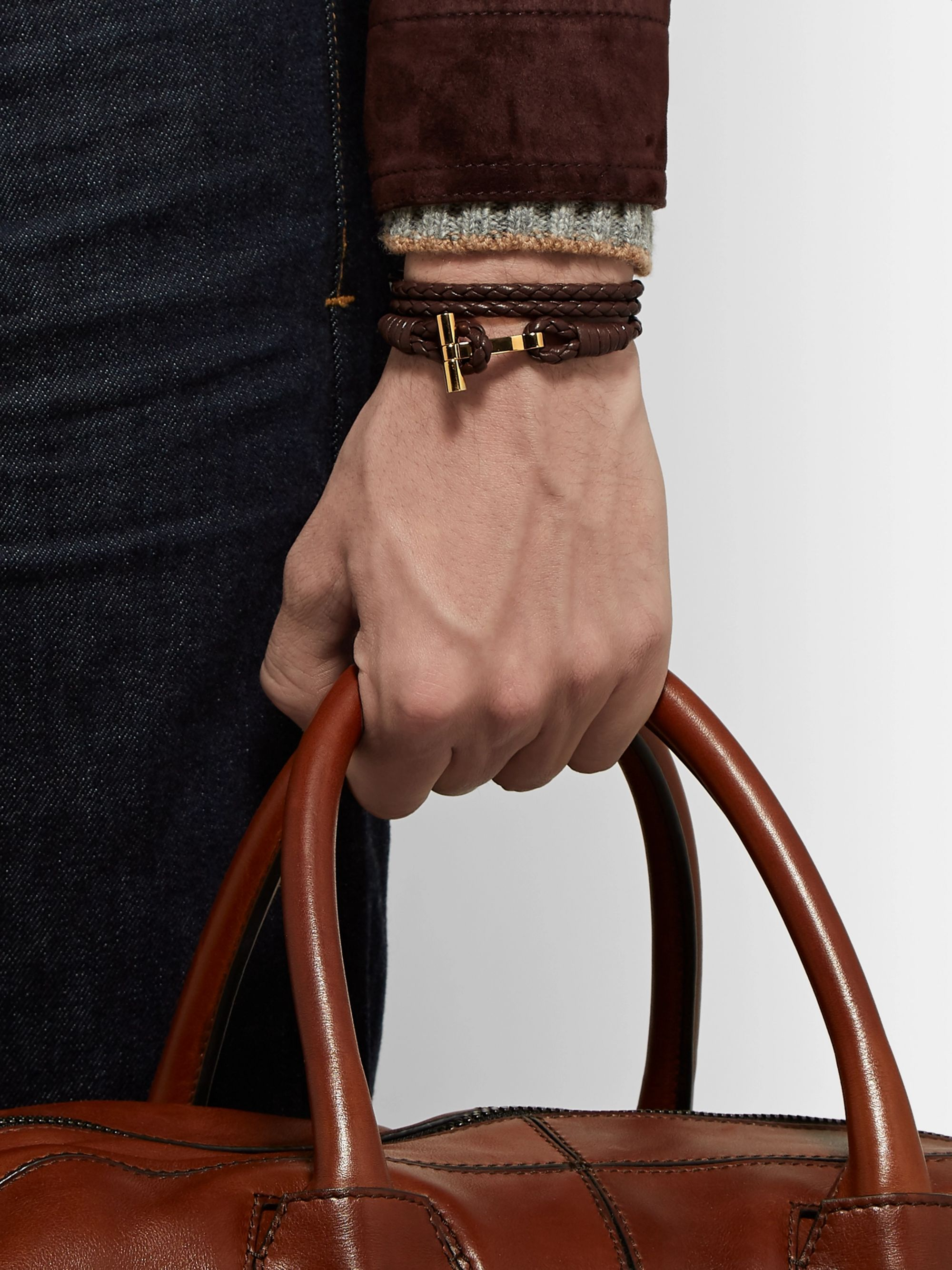 TOM FORD Woven Leather and Gold-Tone Wrap Bracelet