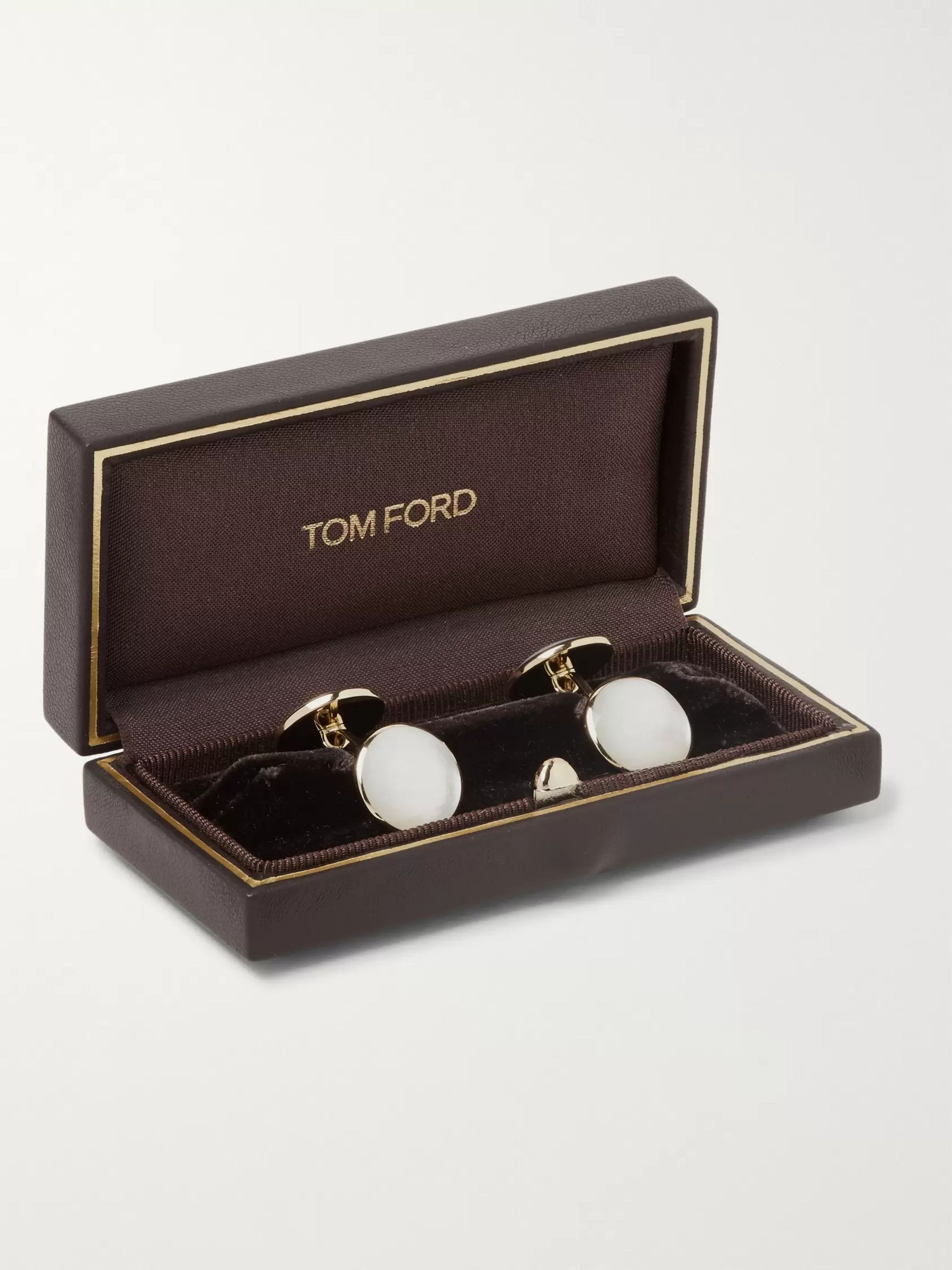 TOM FORD 18-Karat Gold Mother-of-Pearl Cufflinks