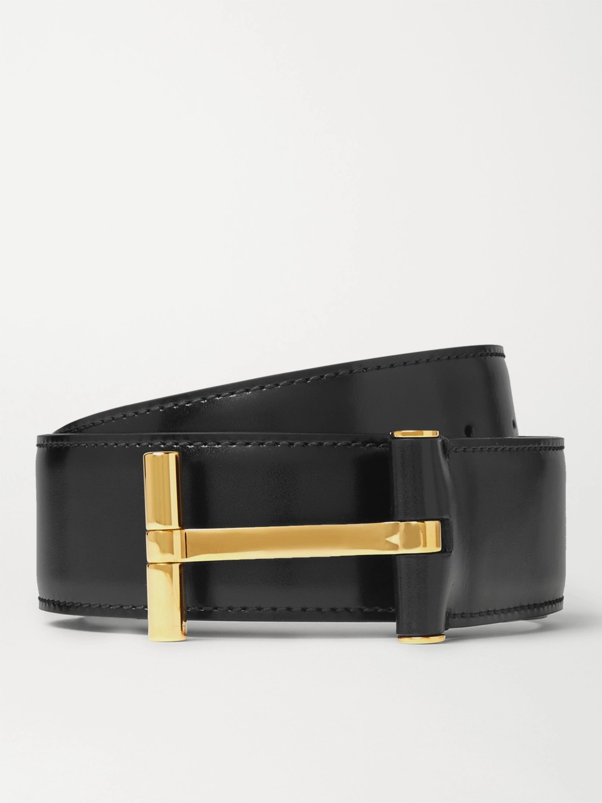 TOM FORD 4cm Black Leather Belt