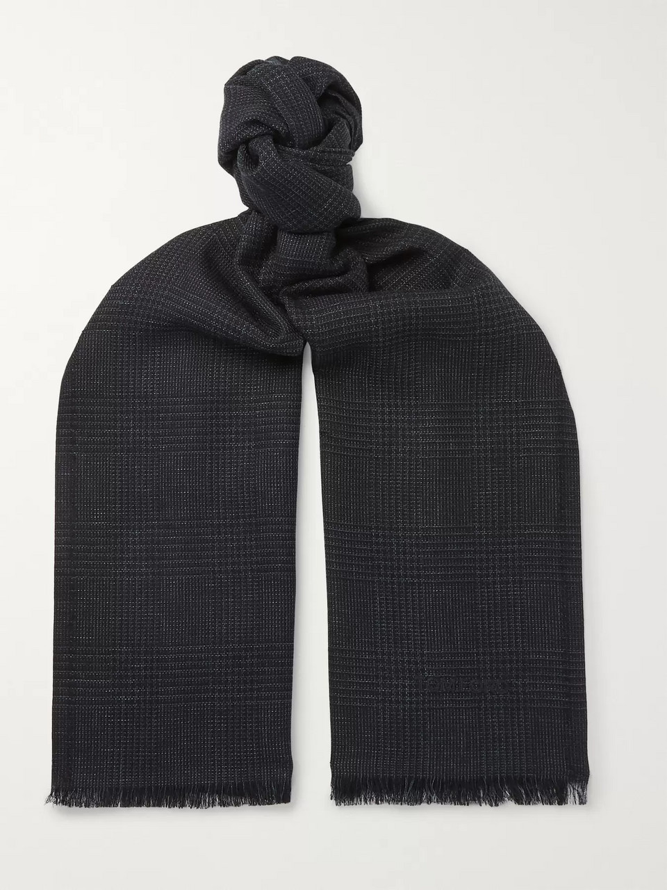 TOM FORD Fringed Prince of Wales Checked Mohair, Wool, Linen and Silk-Blend Scarf