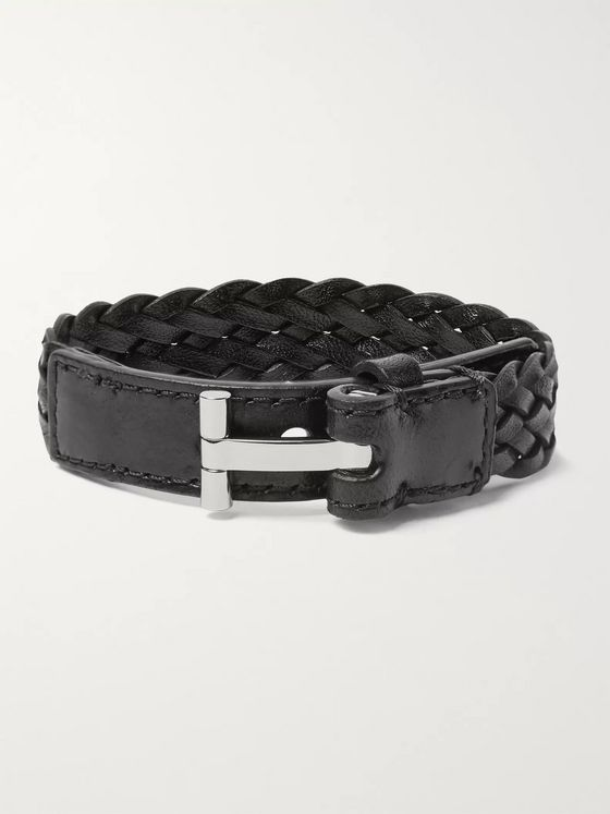 TOM FORD Woven Leather and Silver-Tone Bracelet