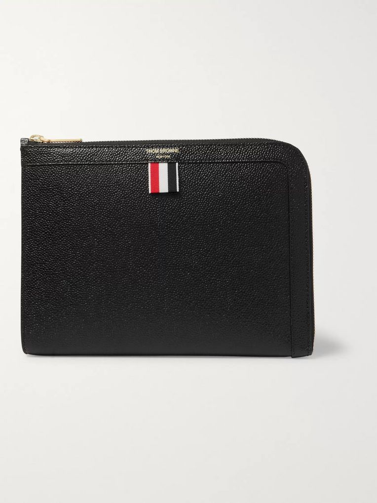 Thom Browne Striped Grosgrain-Trimmed Pebble-Grain Leather Zip-Around Pouch