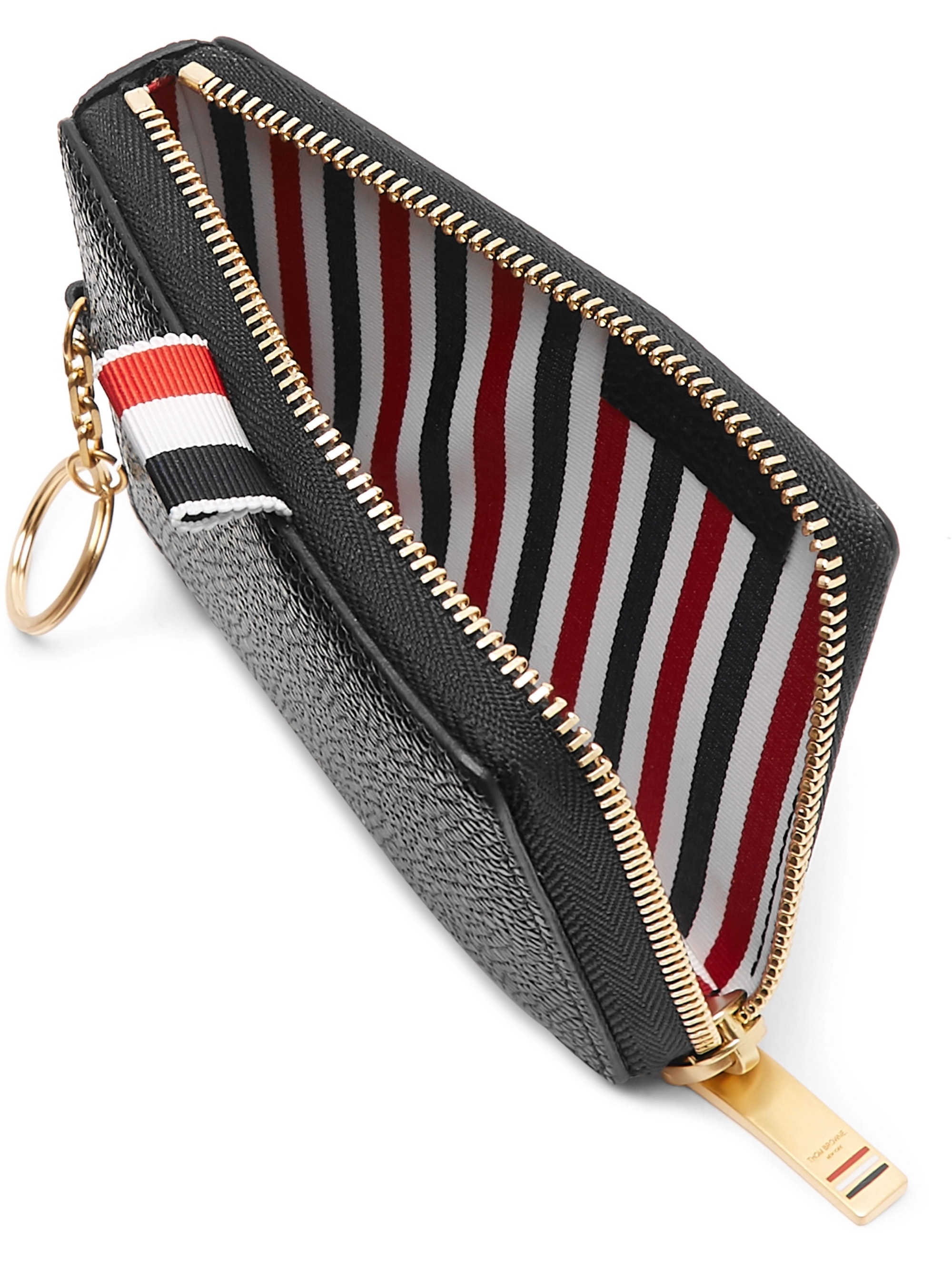 Thom Browne Striped Grosgrain-Trimmed Pebble-Grain Leather Zip-Around Wallet